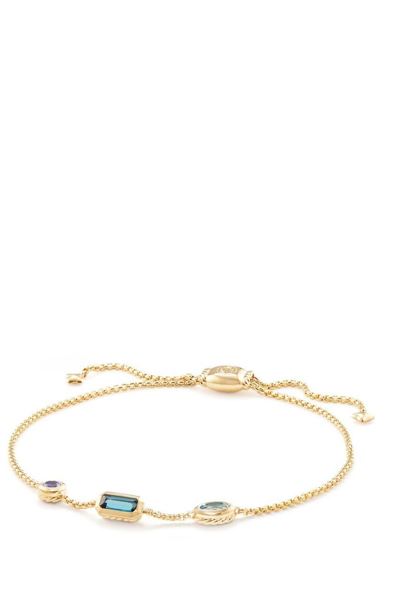 Novella Chain Bracelet in 18K Gold,                             Main thumbnail 1, color,                             GOLD/ HAMPTON BLUE TOPAZ