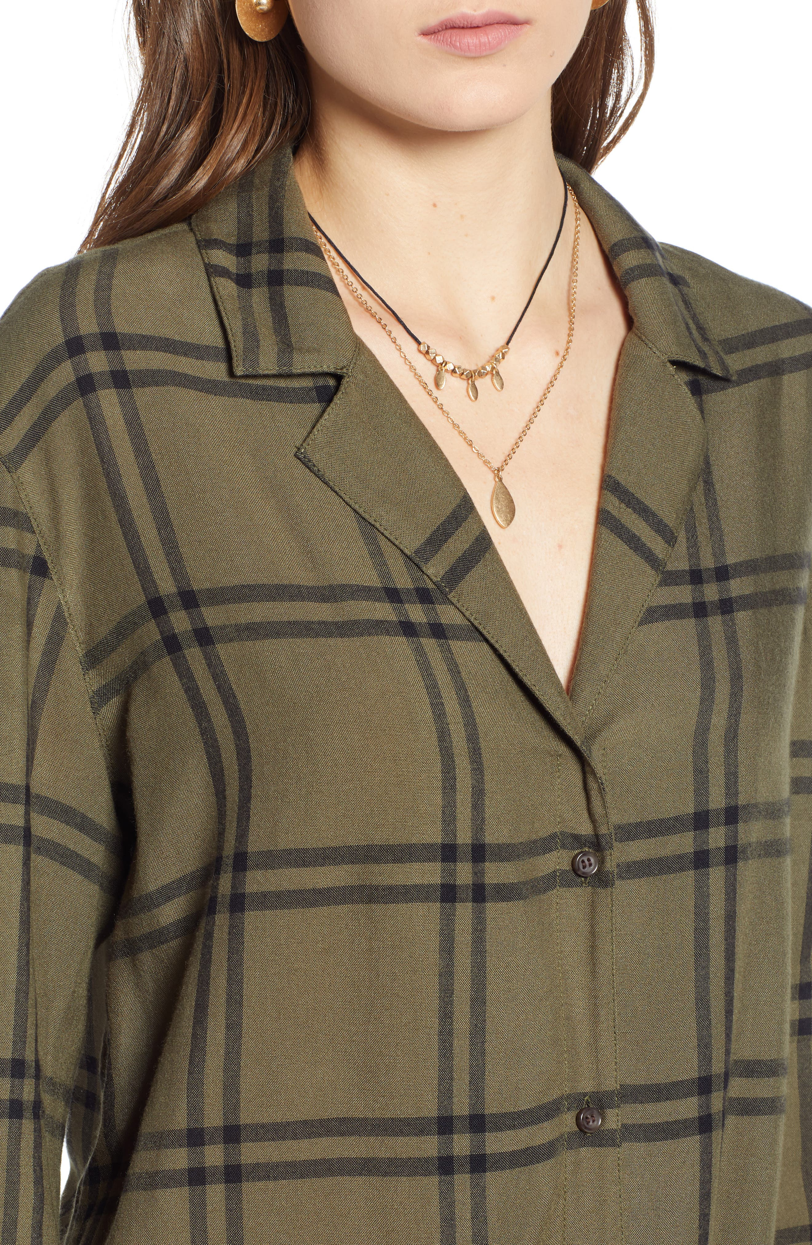 Tie Front Shirt,                             Alternate thumbnail 4, color,                             OLIVE WINDOWPANE PLAID