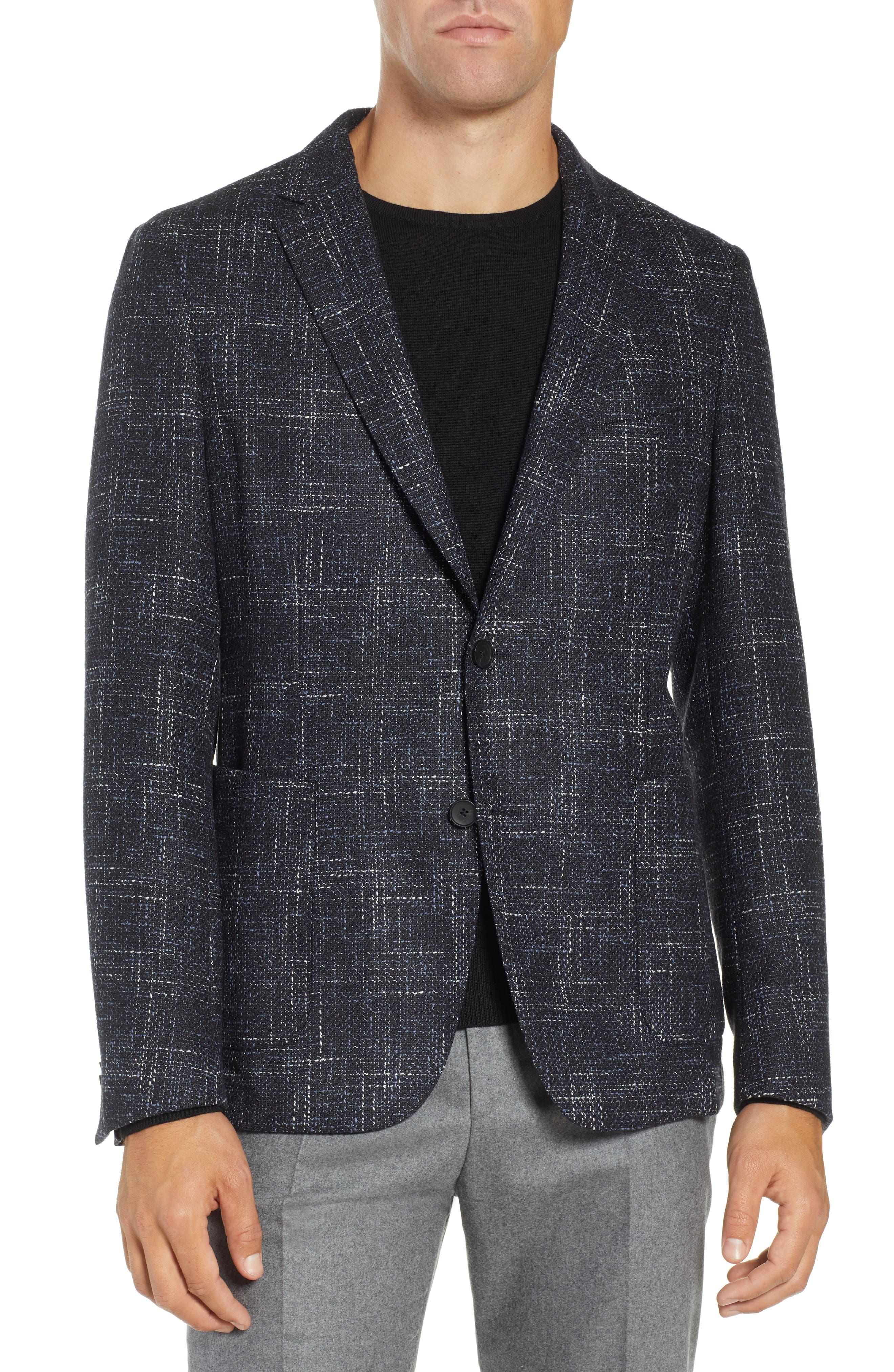 Nold Slim Fit Plaid Wool Blend Sport Coat, Main, color, OPEN BLUE