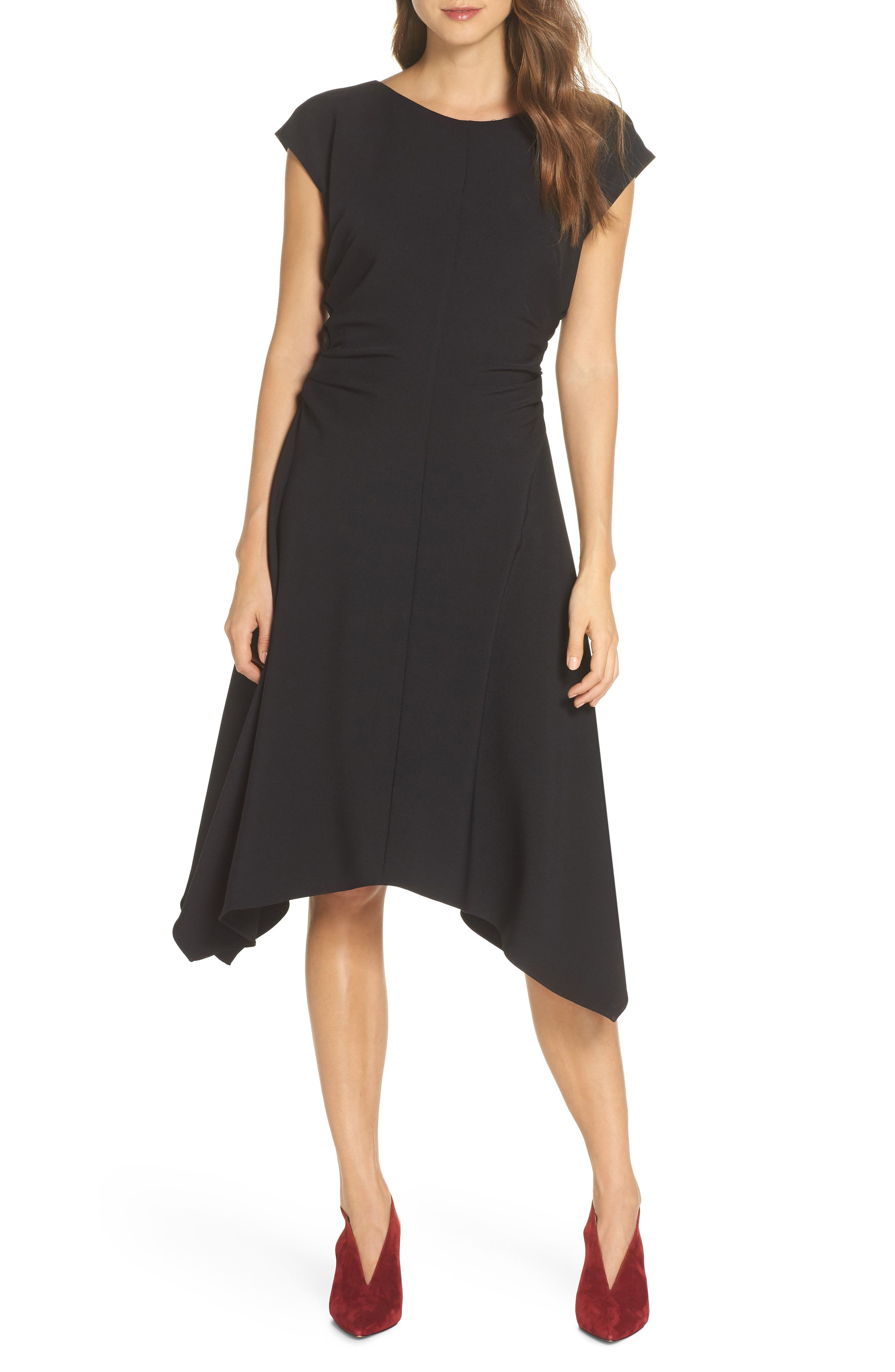 Julia Jordan Ruched Stretch Crepe Fit & Flare Dress, Black