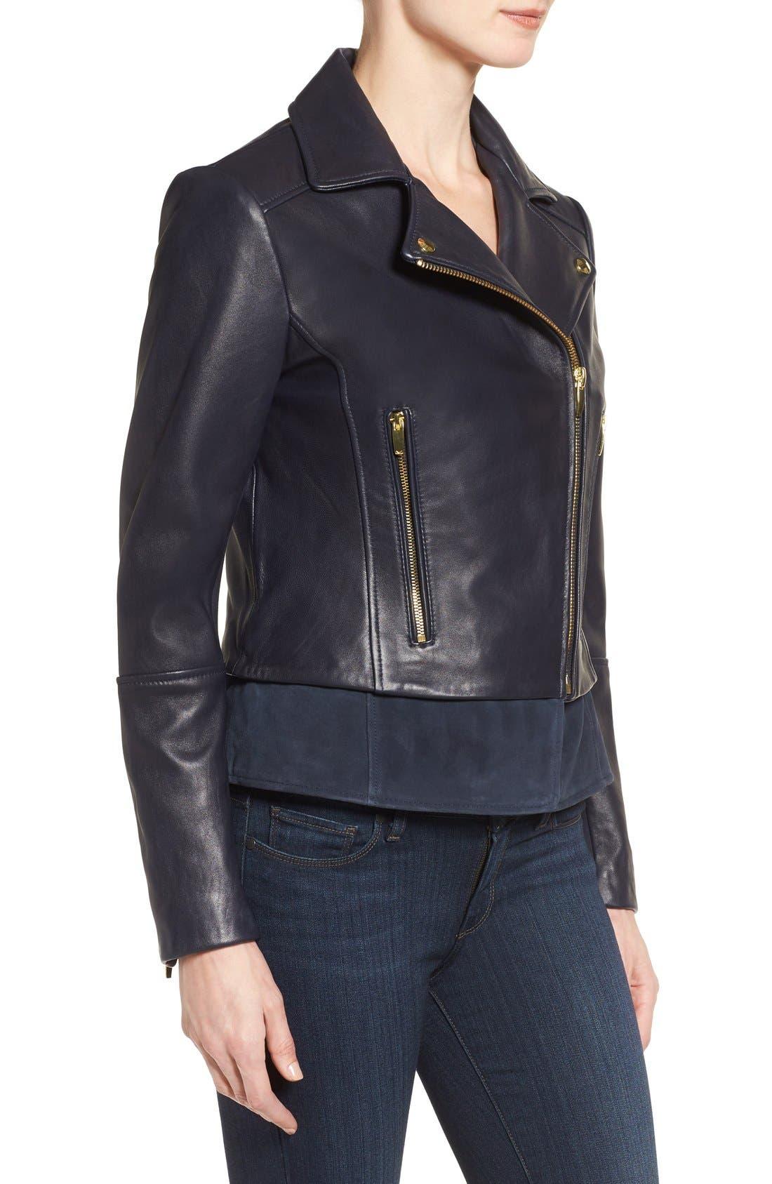 Mixed Media Leather Moto Jacket,                             Alternate thumbnail 8, color,