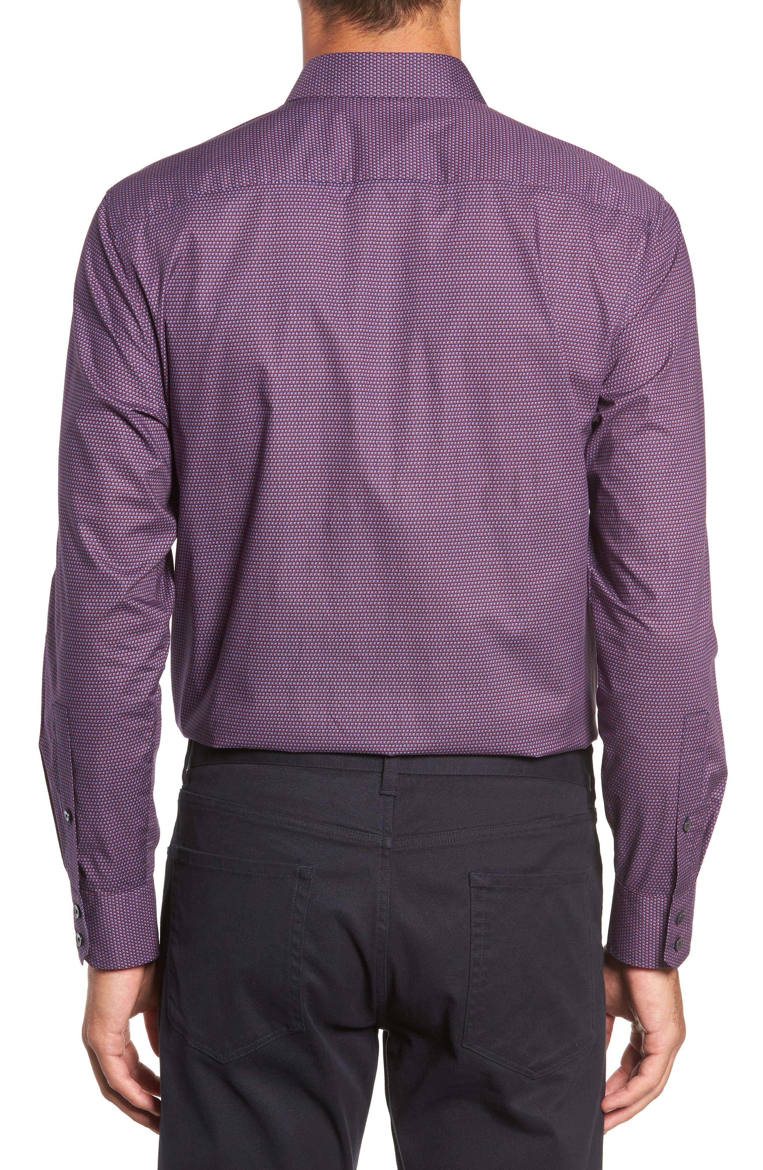 Samir Regular Fit Print Sport Shirt,                             Alternate thumbnail 3, color,                             RED