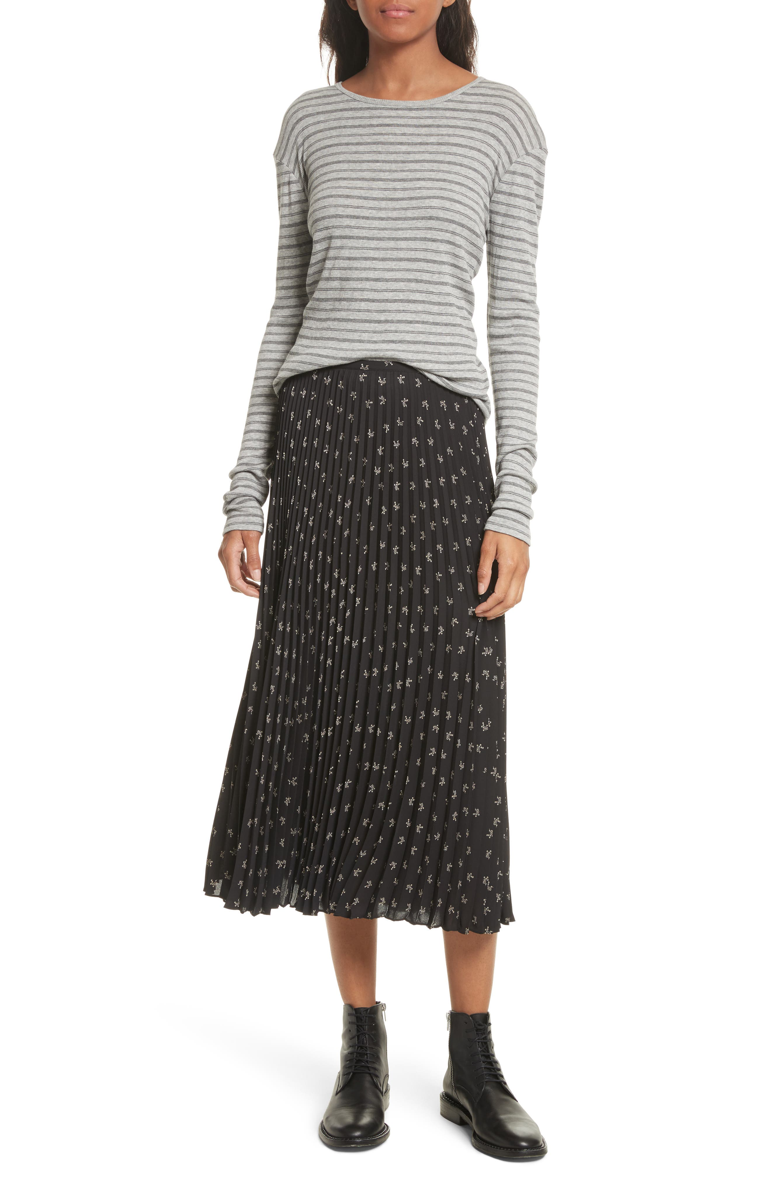 Tossed Ditsy Floral Pleated Skirt,                             Alternate thumbnail 7, color,                             008