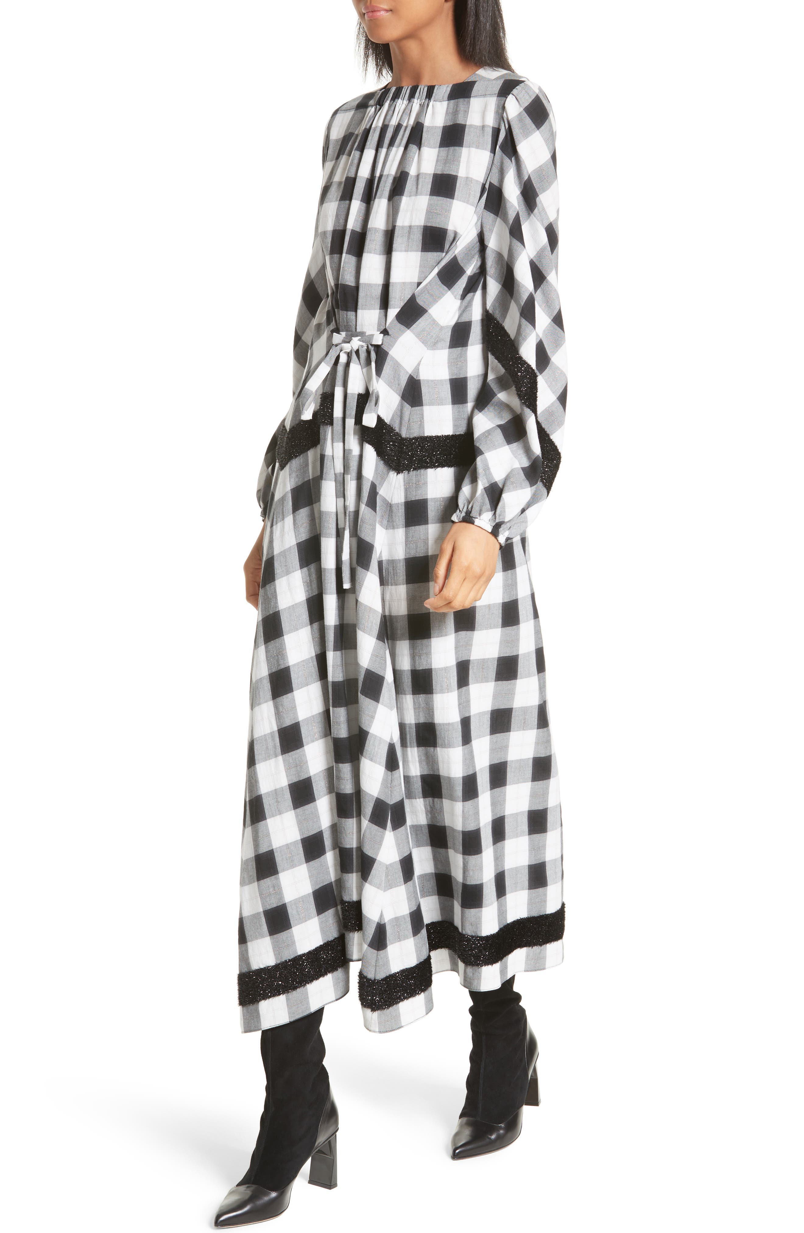 Bouclé Trim Plaid Maxi Dress,                             Alternate thumbnail 4, color,                             001