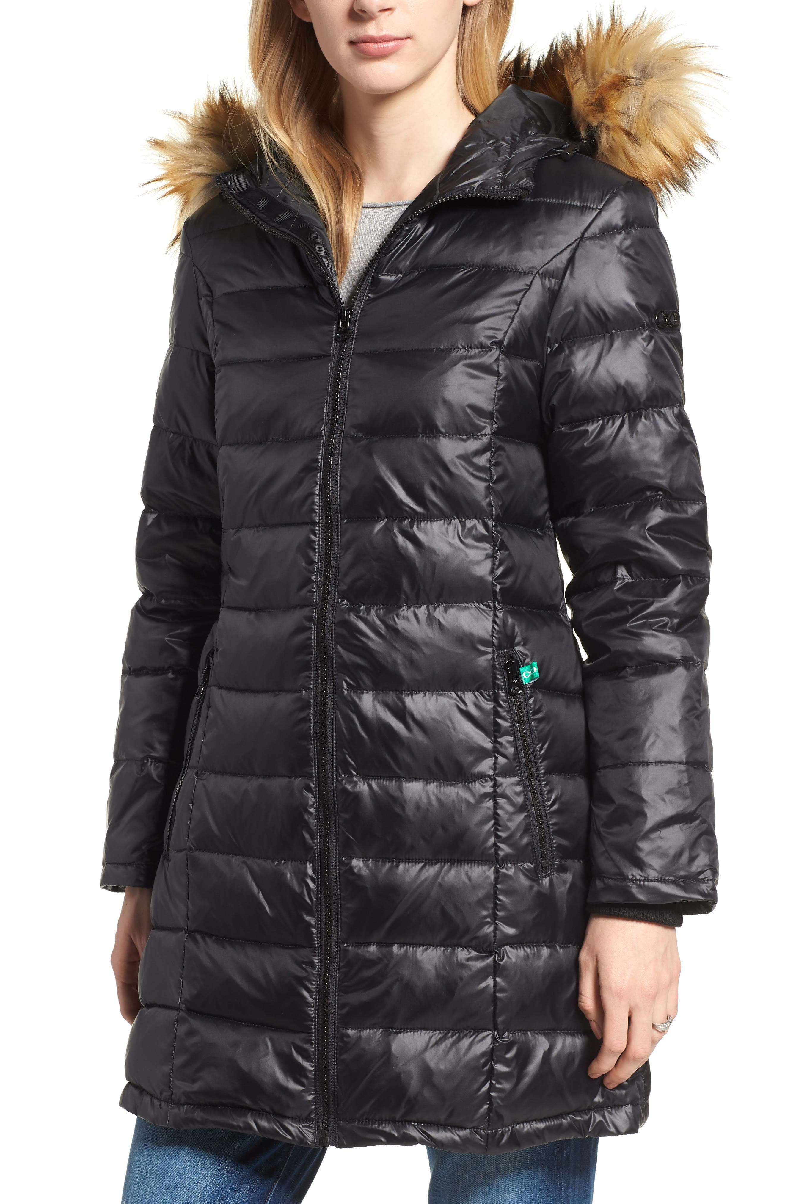 Quilted 3-in-1 Maternity/Nursing Parka,                             Alternate thumbnail 2, color,                             BLACK