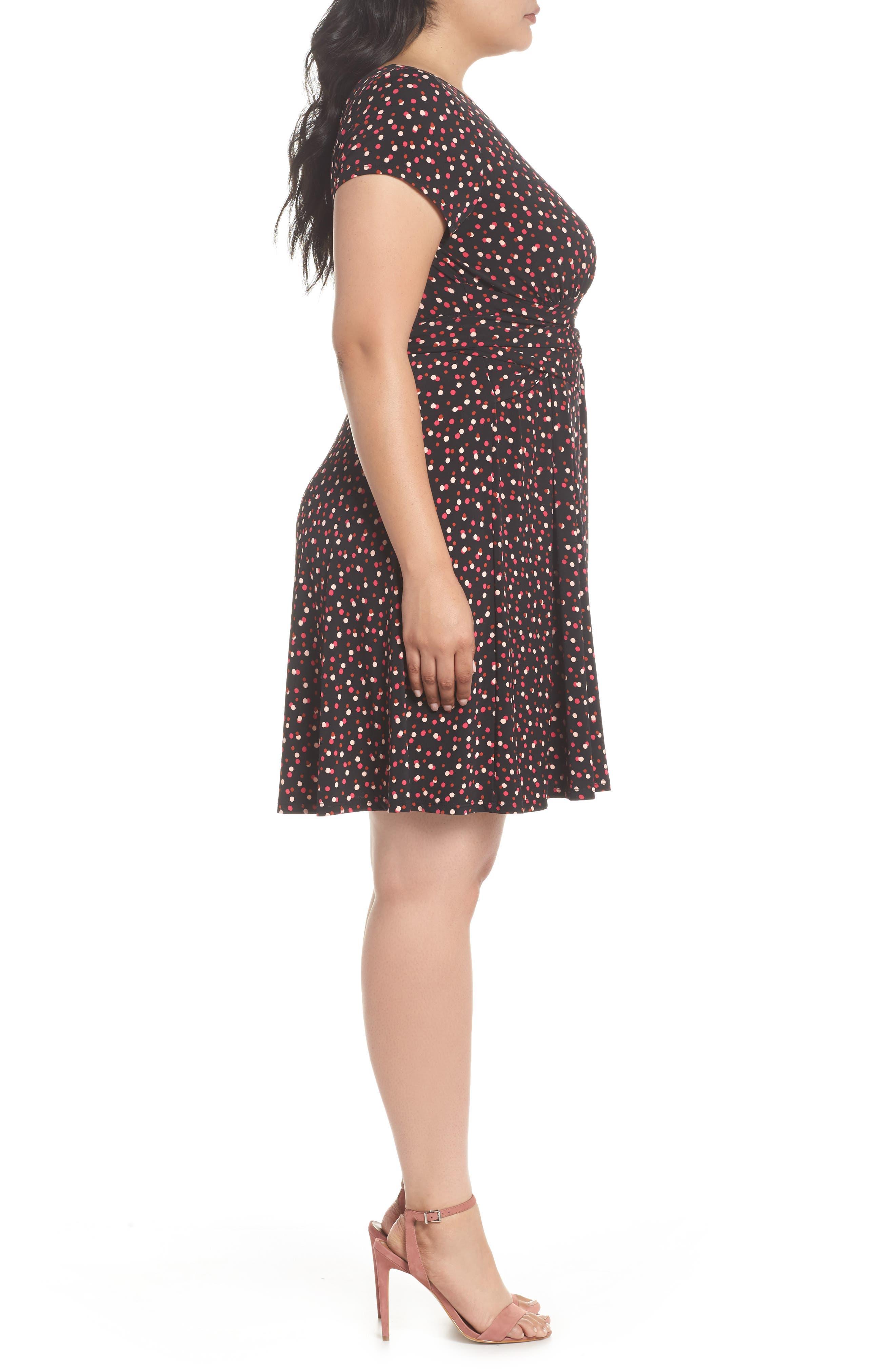 Brittany Print Wrap Tie Dress,                             Alternate thumbnail 3, color,                             TWLIGHT DOT PINK PEACOCK