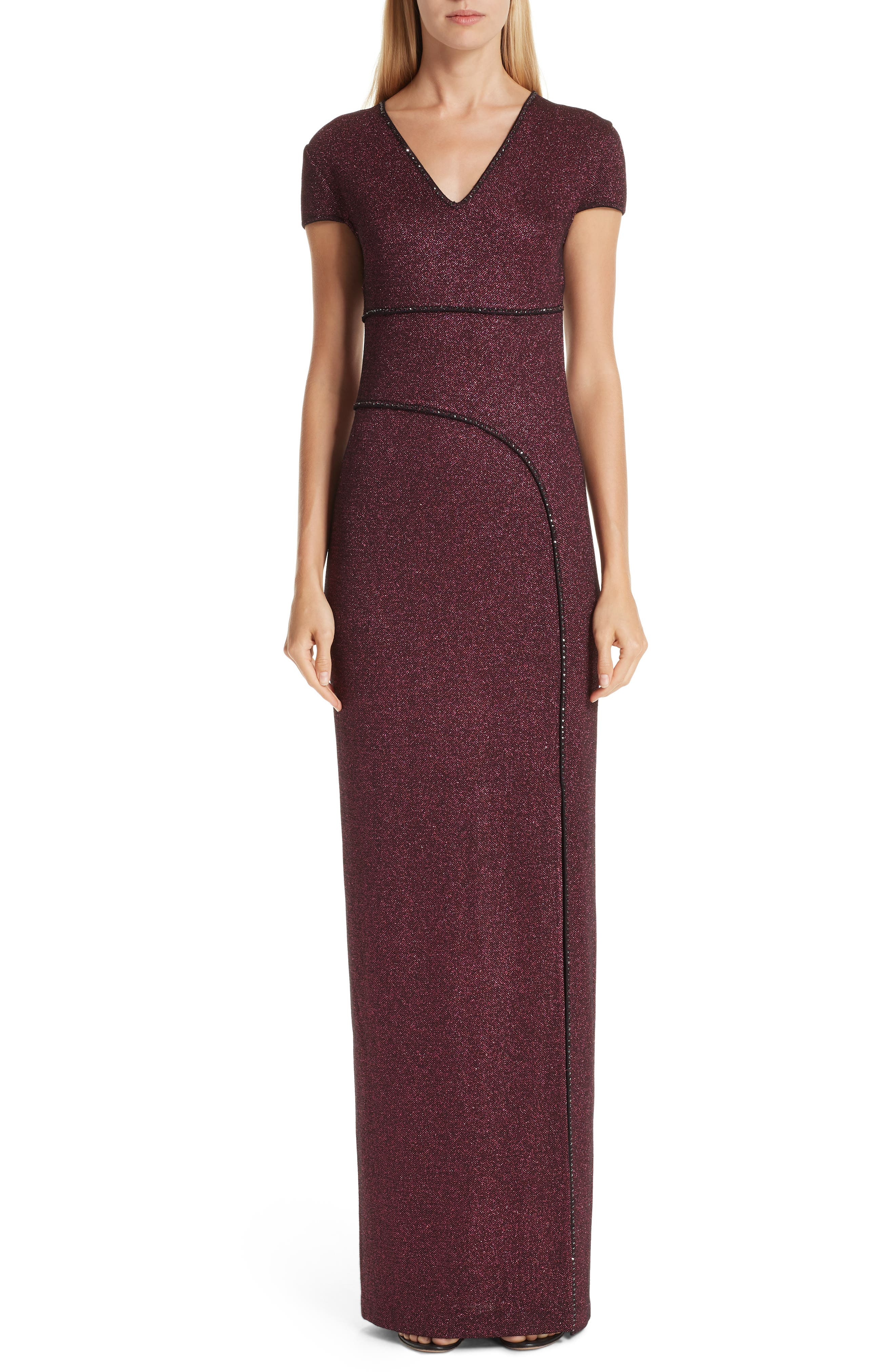 Mod Metallic Knit Cap-Sleeve Column Gown in Dark Pink Multi
