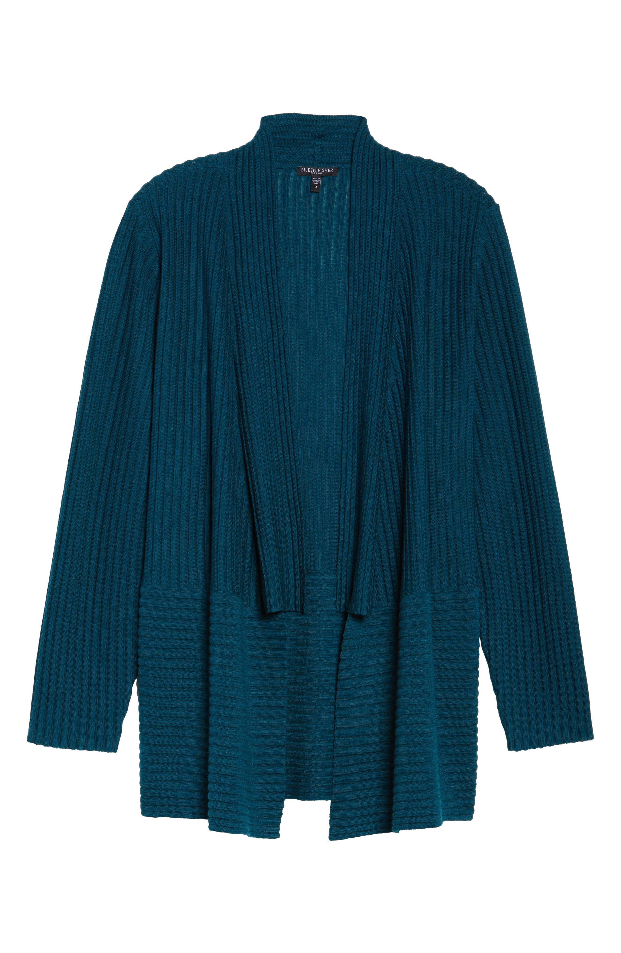 Ribbed Merino Wool Long Cardigan,                             Alternate thumbnail 24, color,
