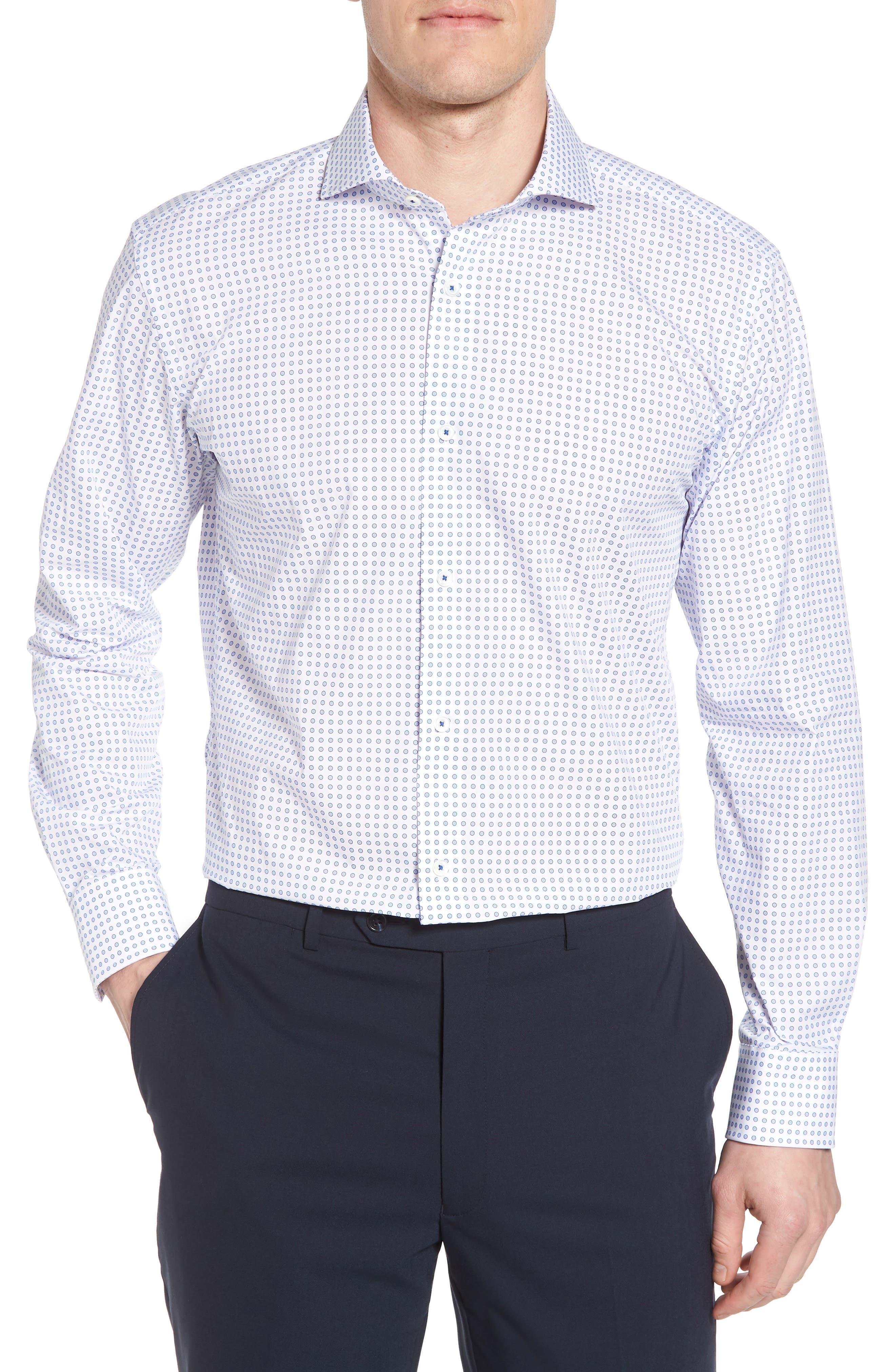 men's big & tall bugatchi trim fit dot dress shirt, size 18 - blue