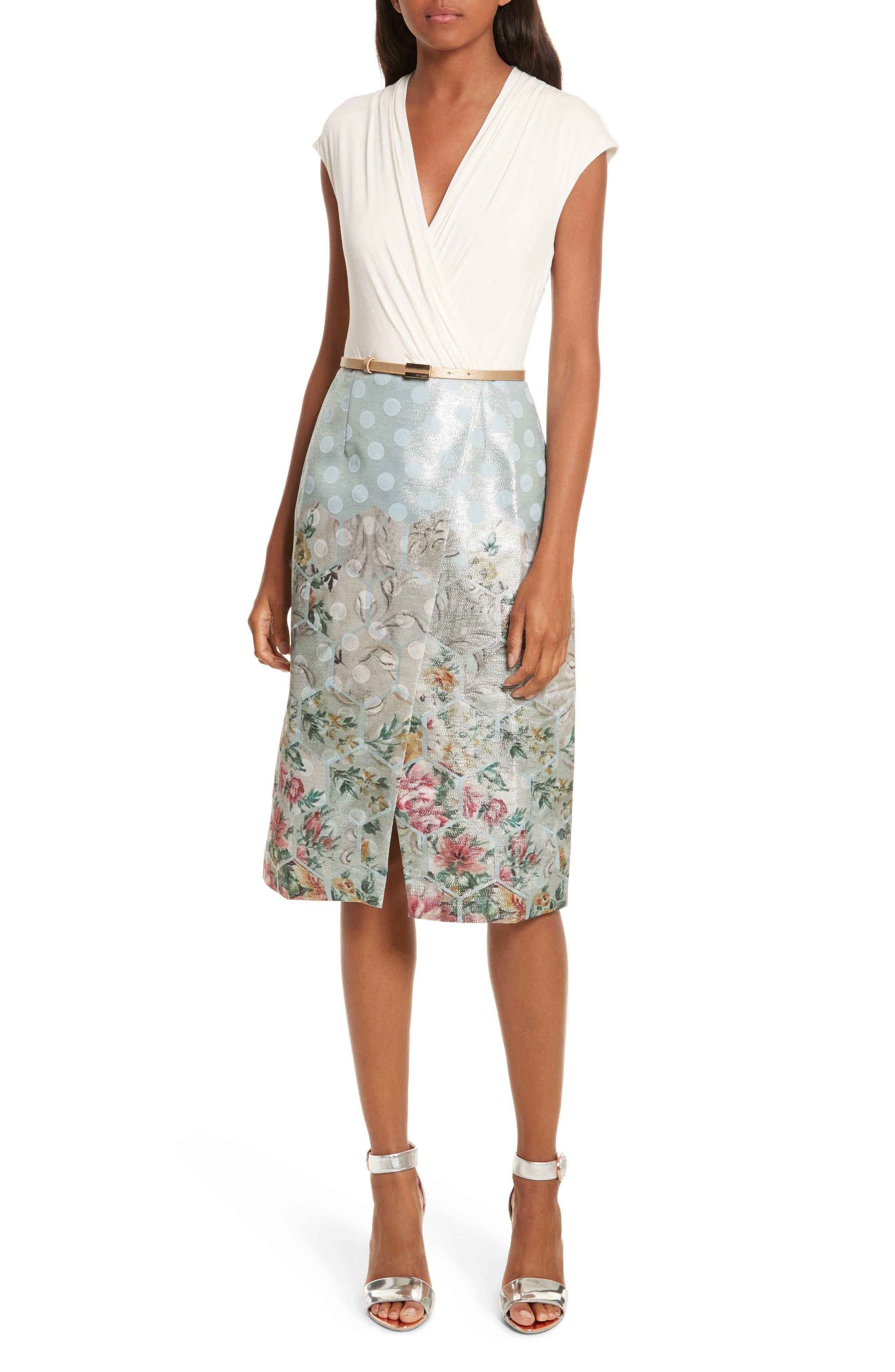 Patchwork Faux Wrap Midi Dress,                         Main,                         color, 451