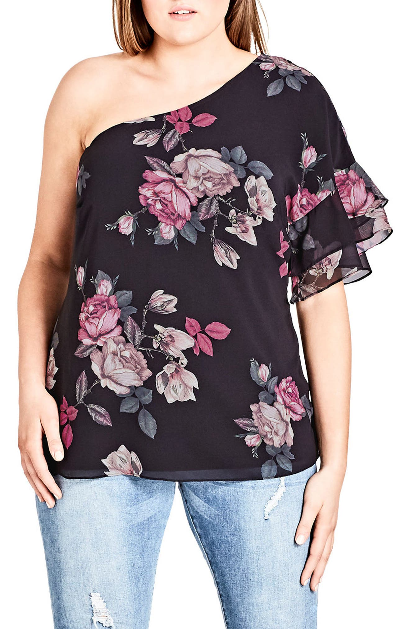 Floral One-Shoulder Top,                             Main thumbnail 1, color,                             MIRROR ROSE