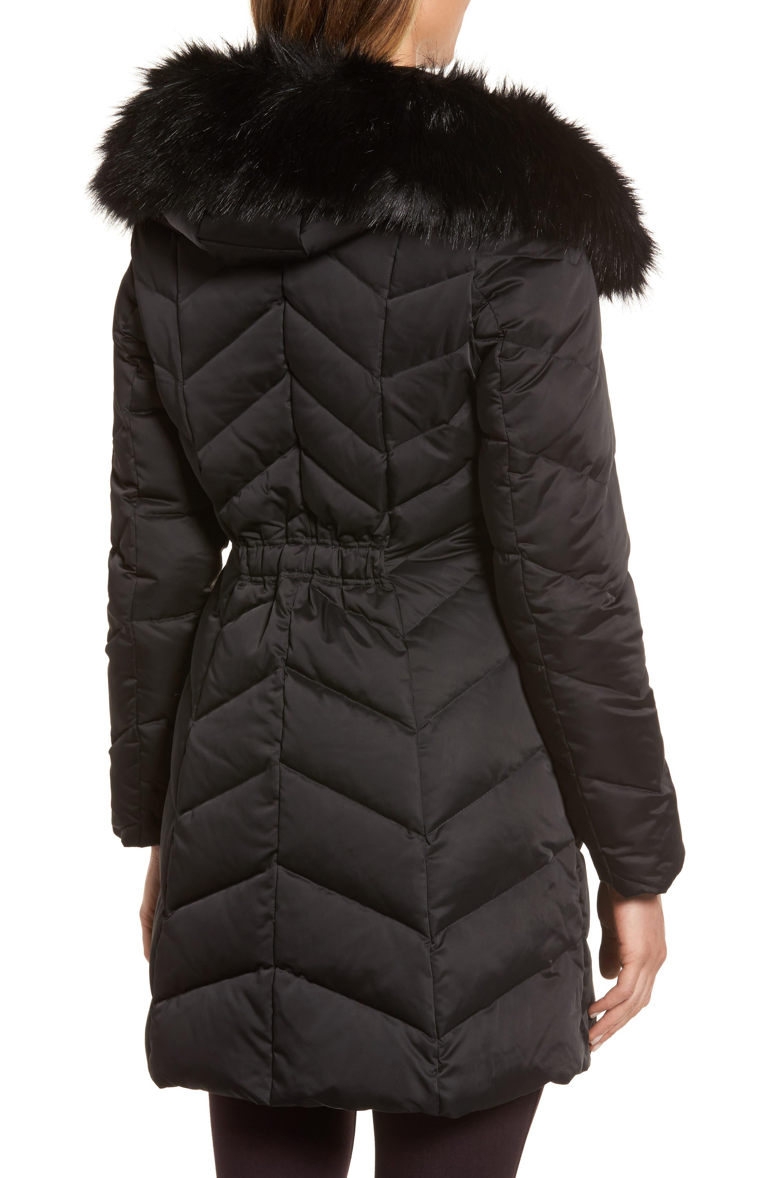 Gwen Chevron Down & Feather Faux Fur Coat,                             Alternate thumbnail 2, color,                             BLACK