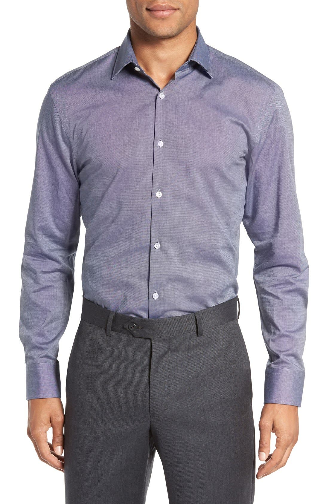 Sharp Fit Solid Dress Shirt,                             Alternate thumbnail 9, color,