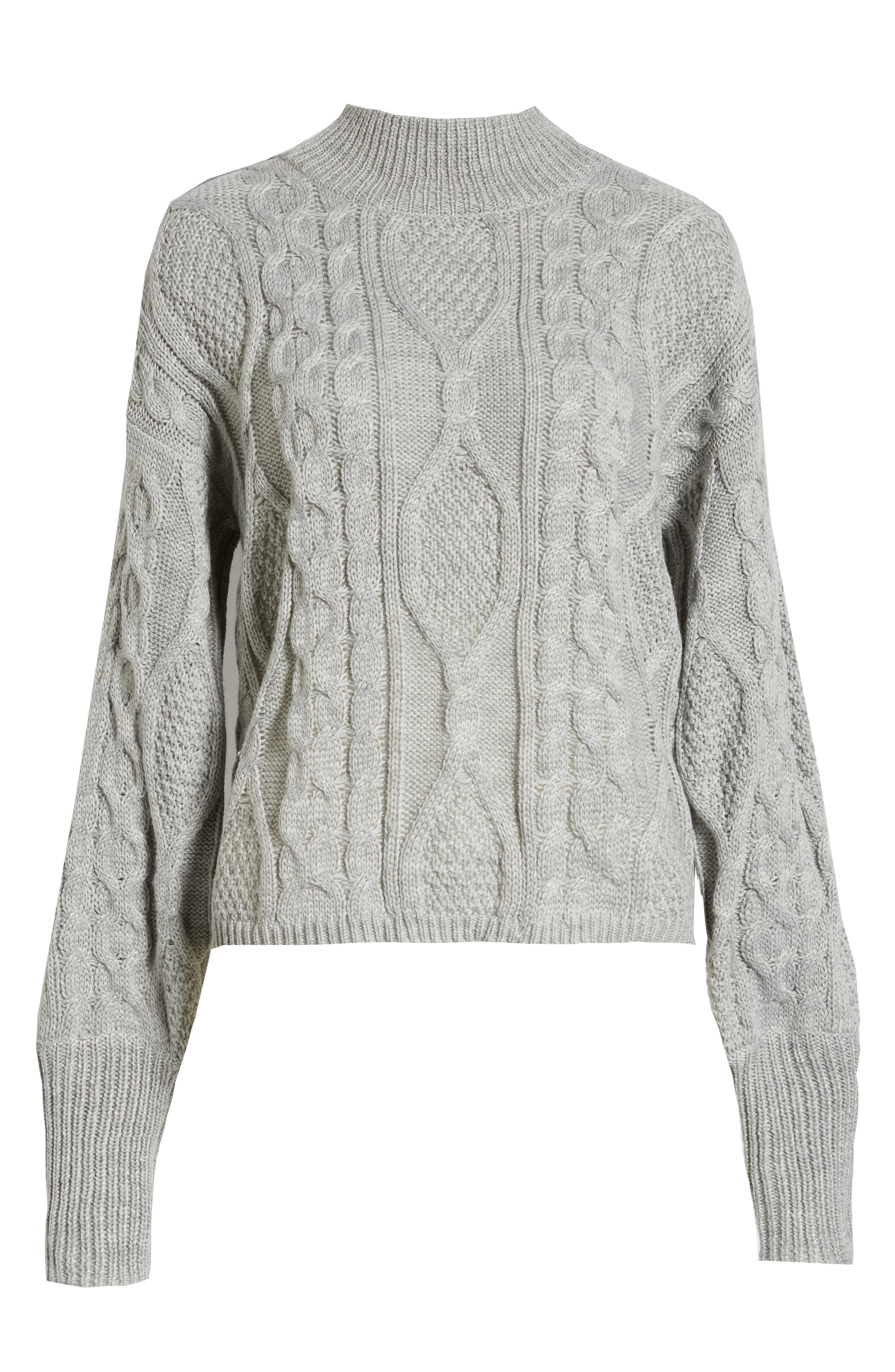 Dusk Till Dawn Cable Sweater,                             Alternate thumbnail 6, color,                             GREY
