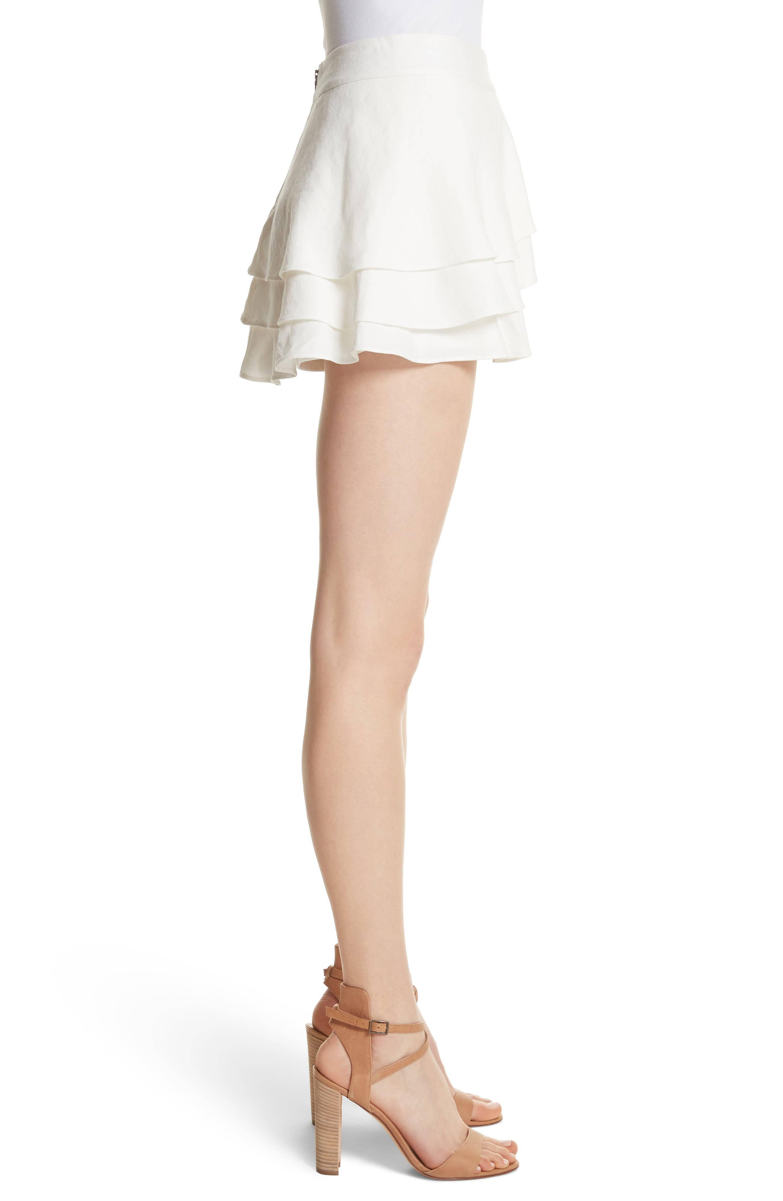 ALICE + OLIVIA,                             Mariella Tiered Ruffle Skort,                             Alternate thumbnail 3, color,                             127