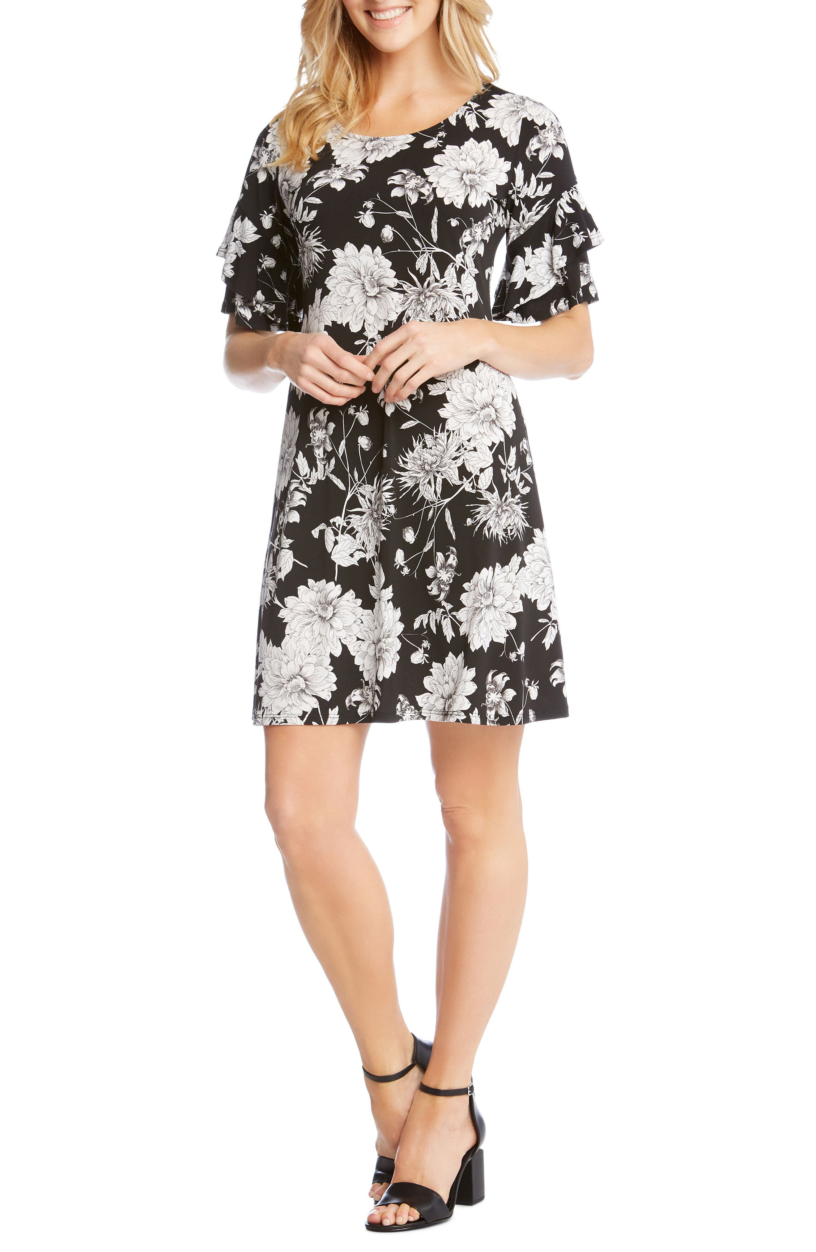 Ruffle Sleeve Floral Dress,                             Main thumbnail 1, color,                             460