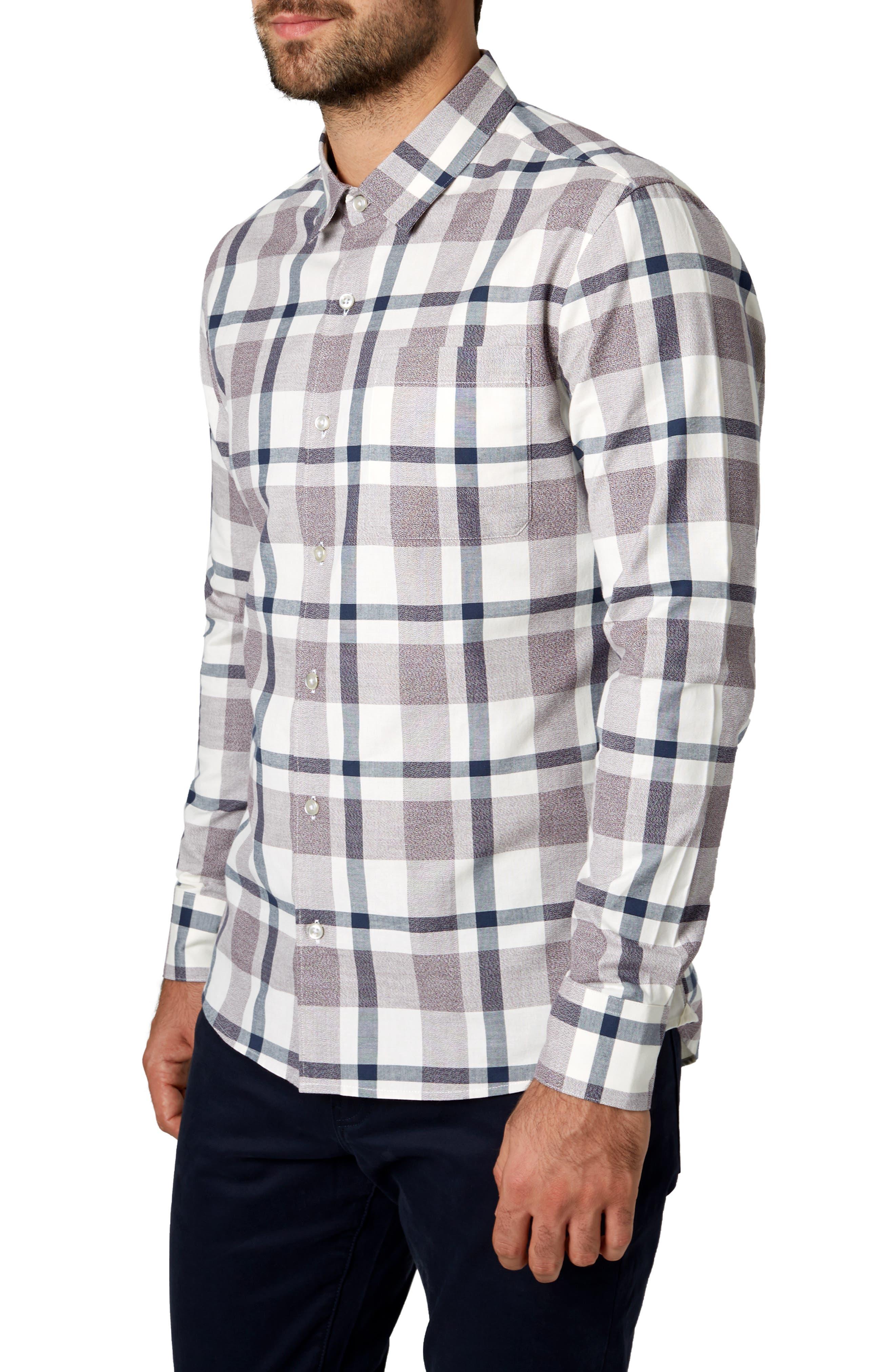 Youngblood Trim Fit Plaid Sport Shirt,                             Alternate thumbnail 4, color,                             ROSE