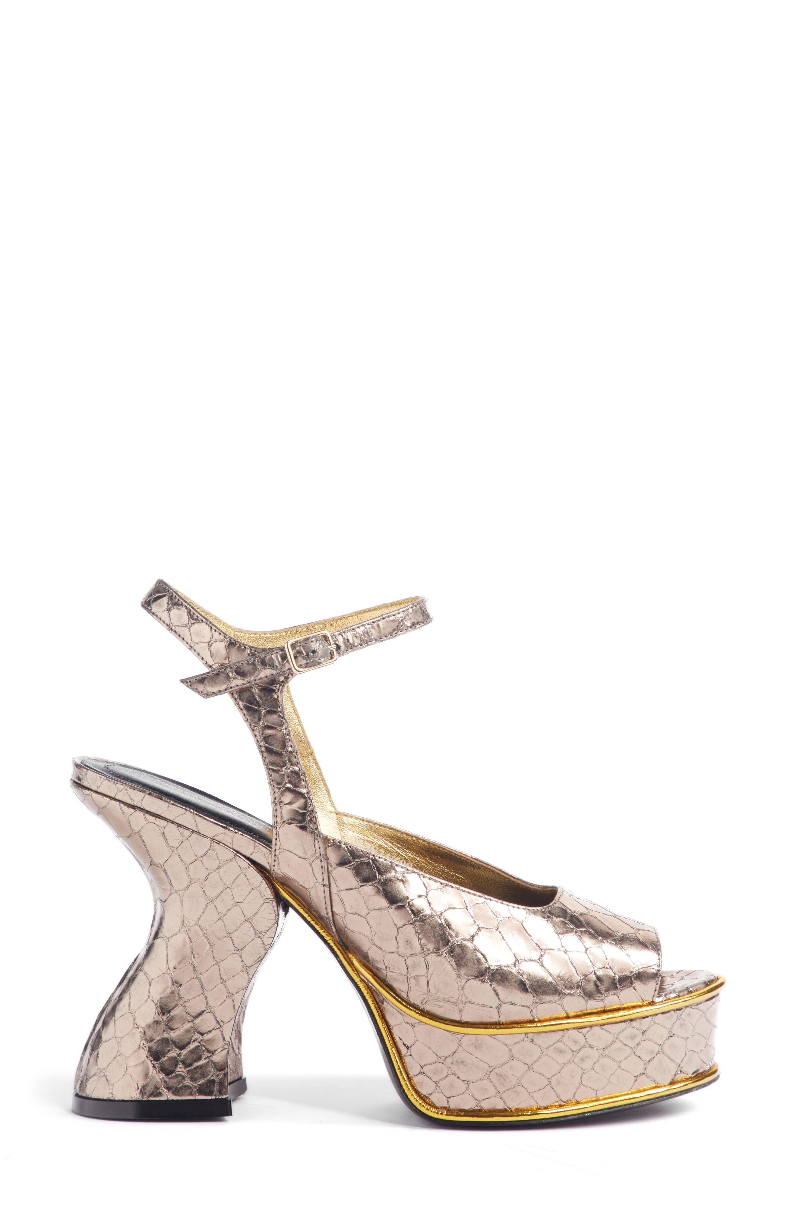 Wave Heel Platform Sandal,                             Alternate thumbnail 3, color,                             SILVER