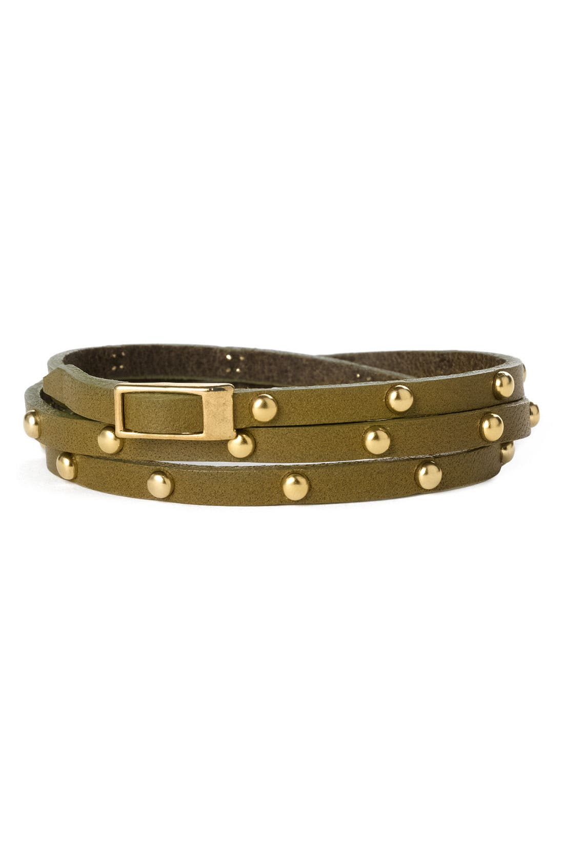 Accessories Leather & Metal Stud Wrap Bracelet,                             Main thumbnail 3, color,