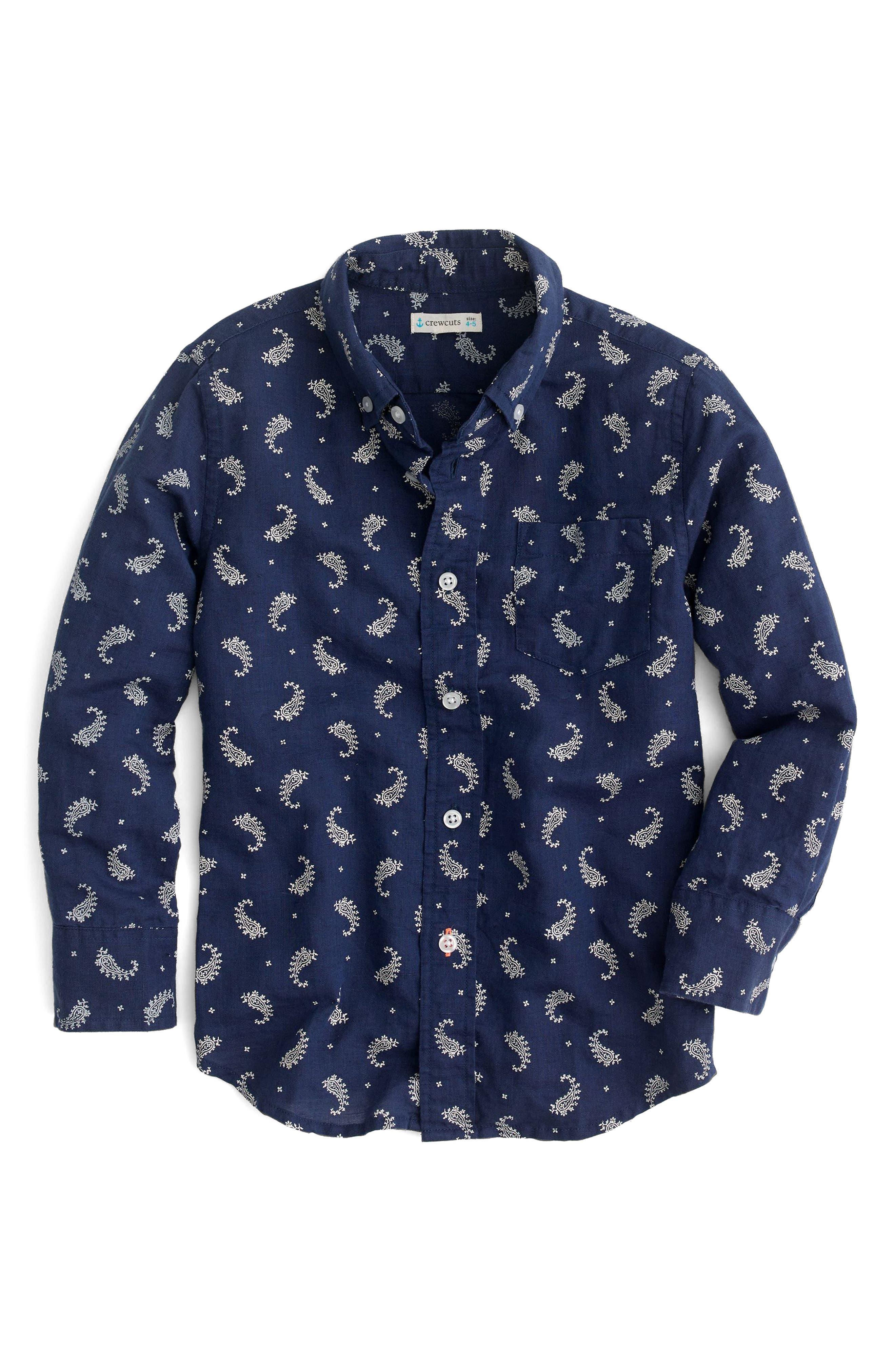 CREWCUTS BY J.CREW Paisley Print Cotton & Linen Dress Shirt, Main, color, 400