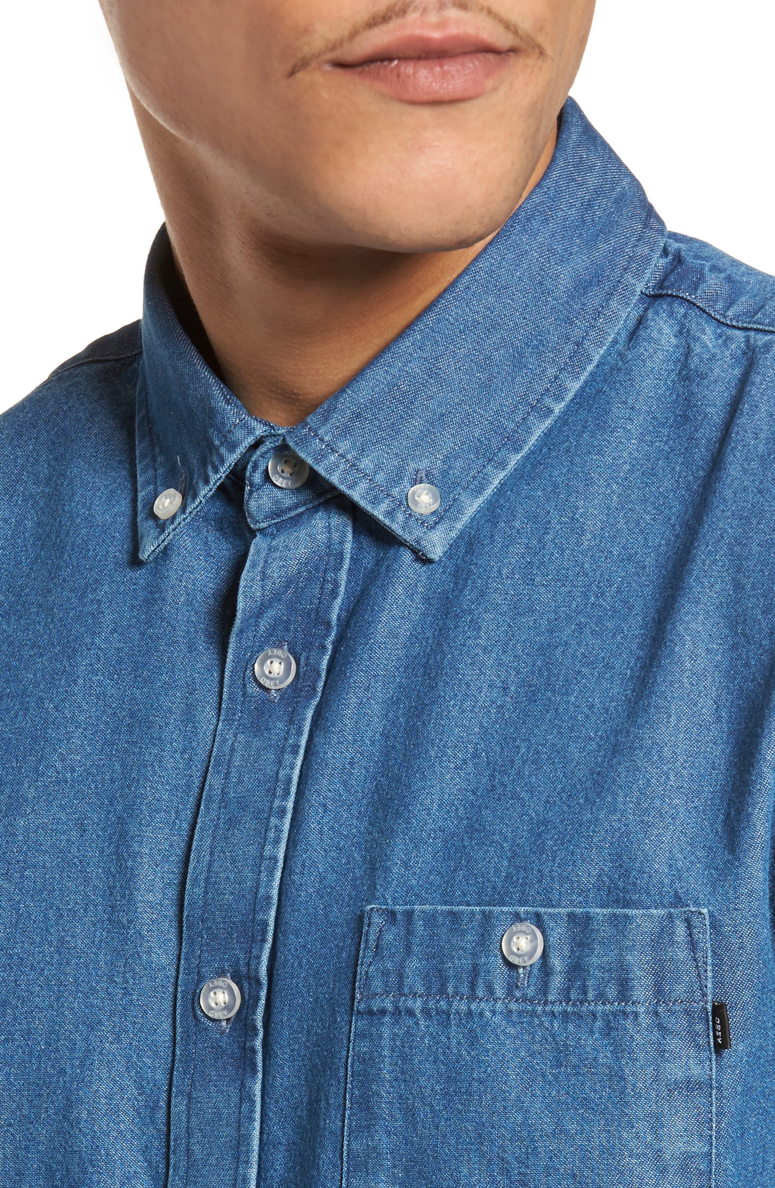 Kebble Denim Shirt,                             Alternate thumbnail 4, color,                             450