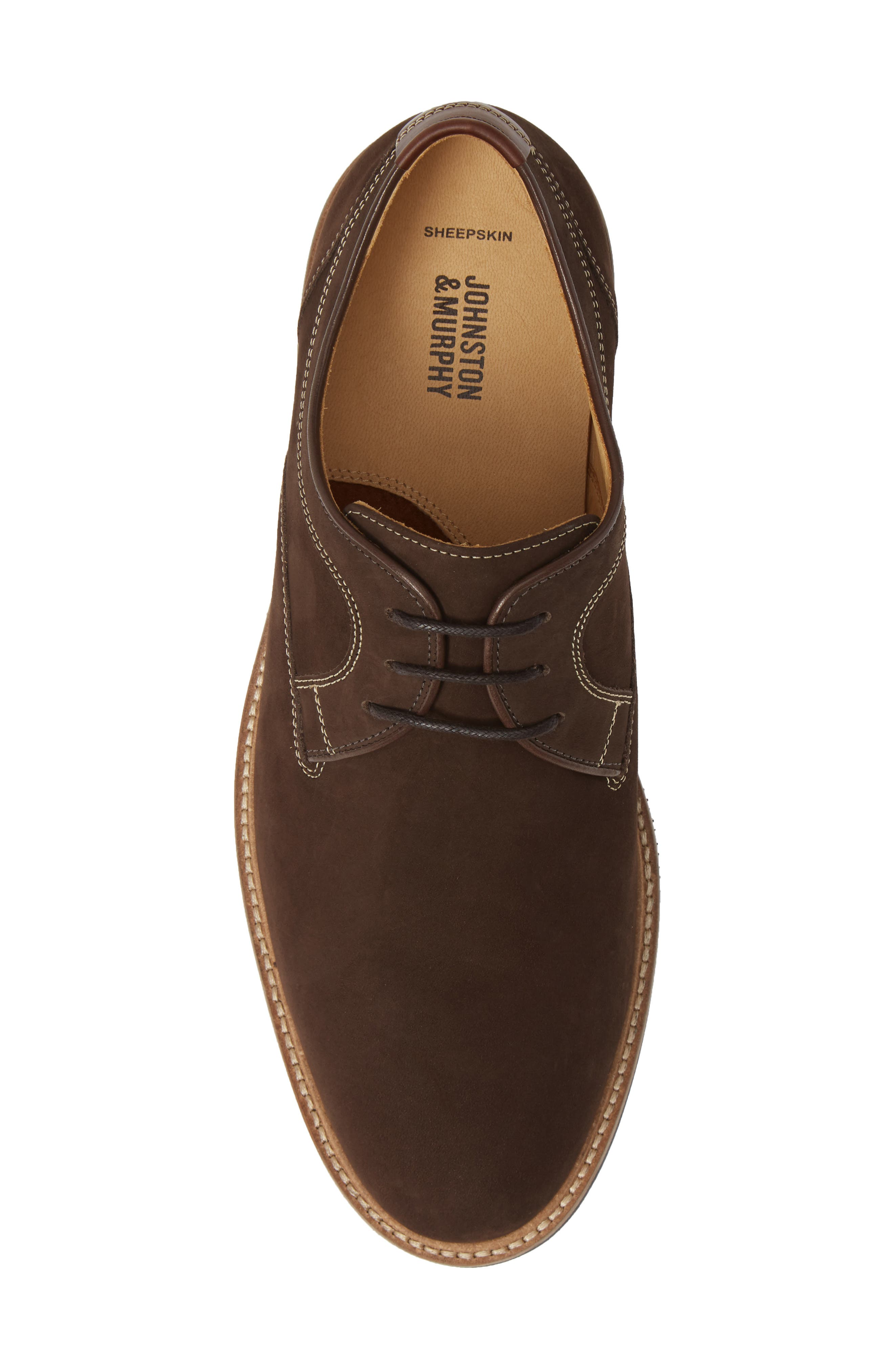 JOHNSTON & MURPHY,                             Barlow Plain Toe Derby,                             Alternate thumbnail 5, color,                             CHOCOLATE NUBUCK