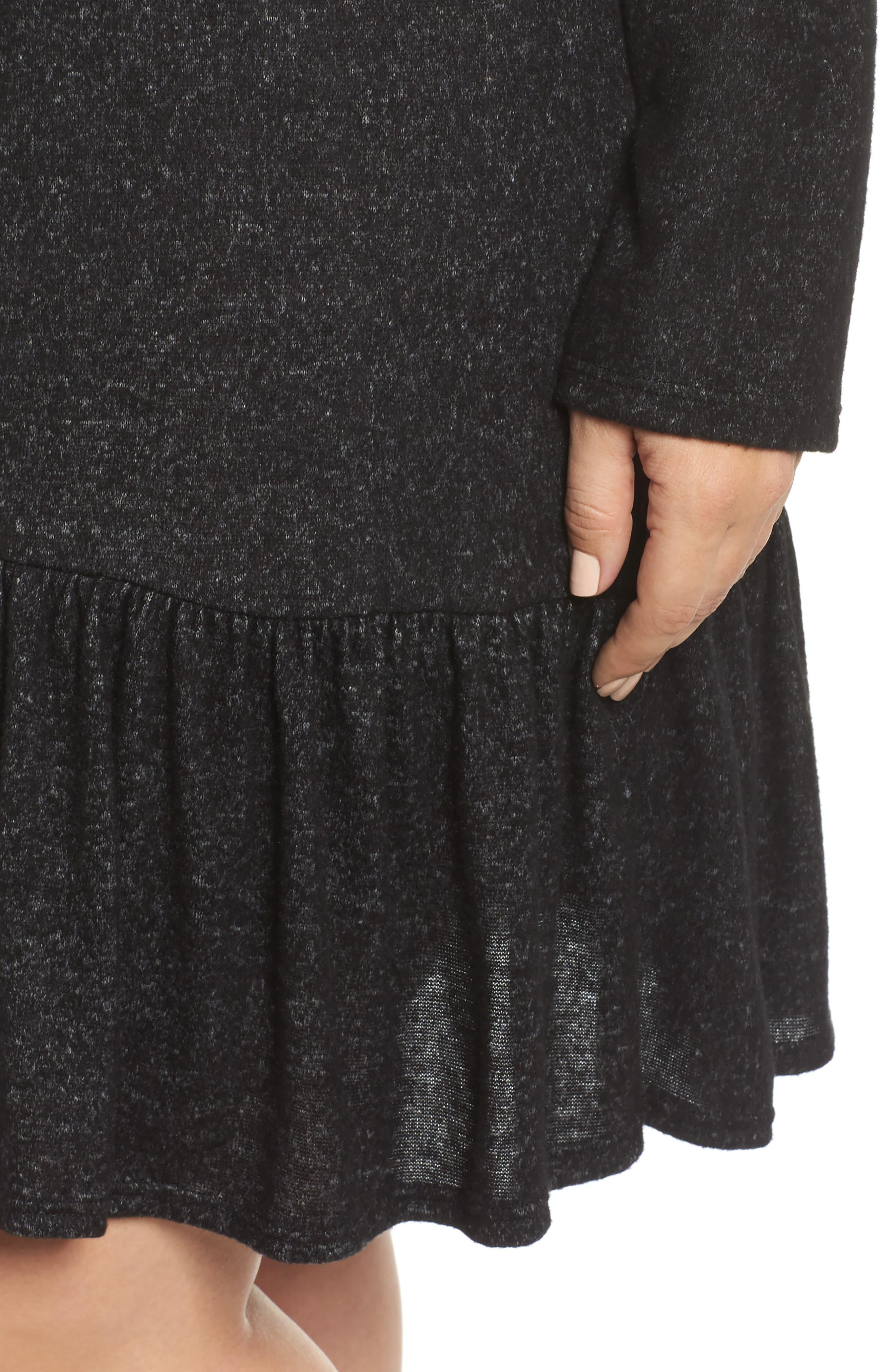 Peplum Hem Hoodie Dress,                             Alternate thumbnail 4, color,                             001