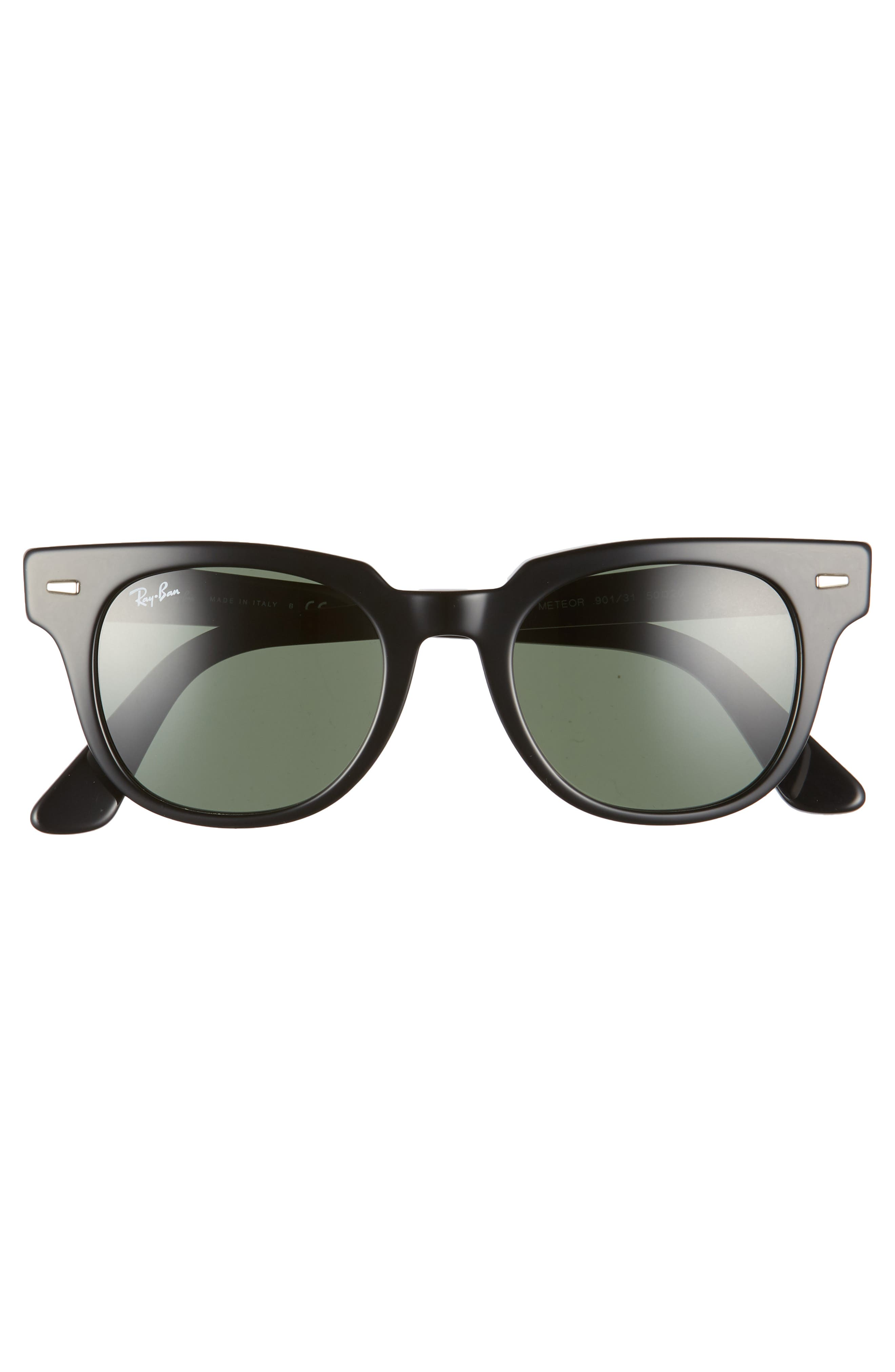 Wayfarer 50mm Square Sunglasses,                             Alternate thumbnail 3, color,                             BLACK