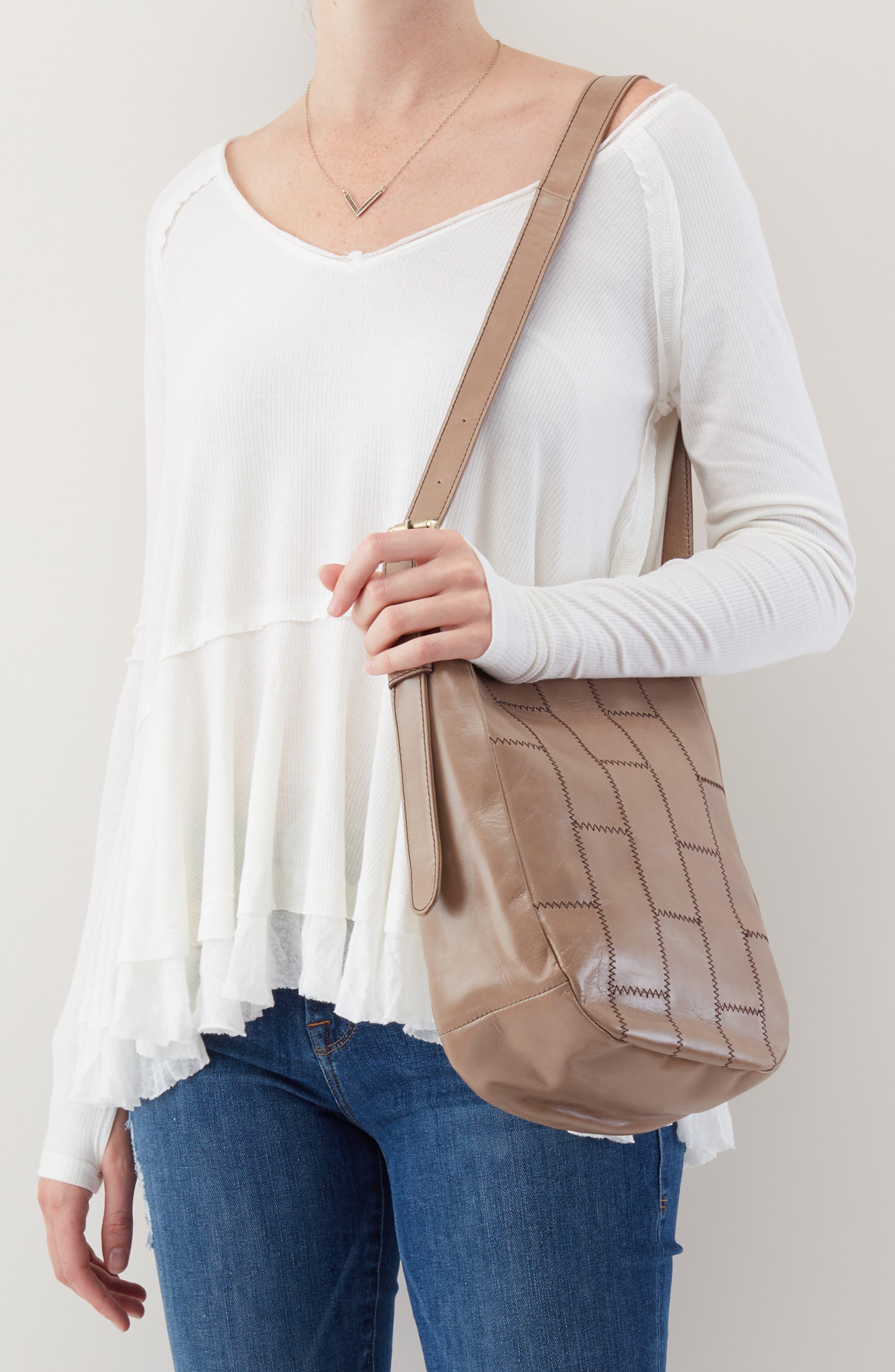 HOBO,                             Kharma Patchwork Calfskin Leather Bucket Bag,                             Alternate thumbnail 2, color,                             COBBLESTONE