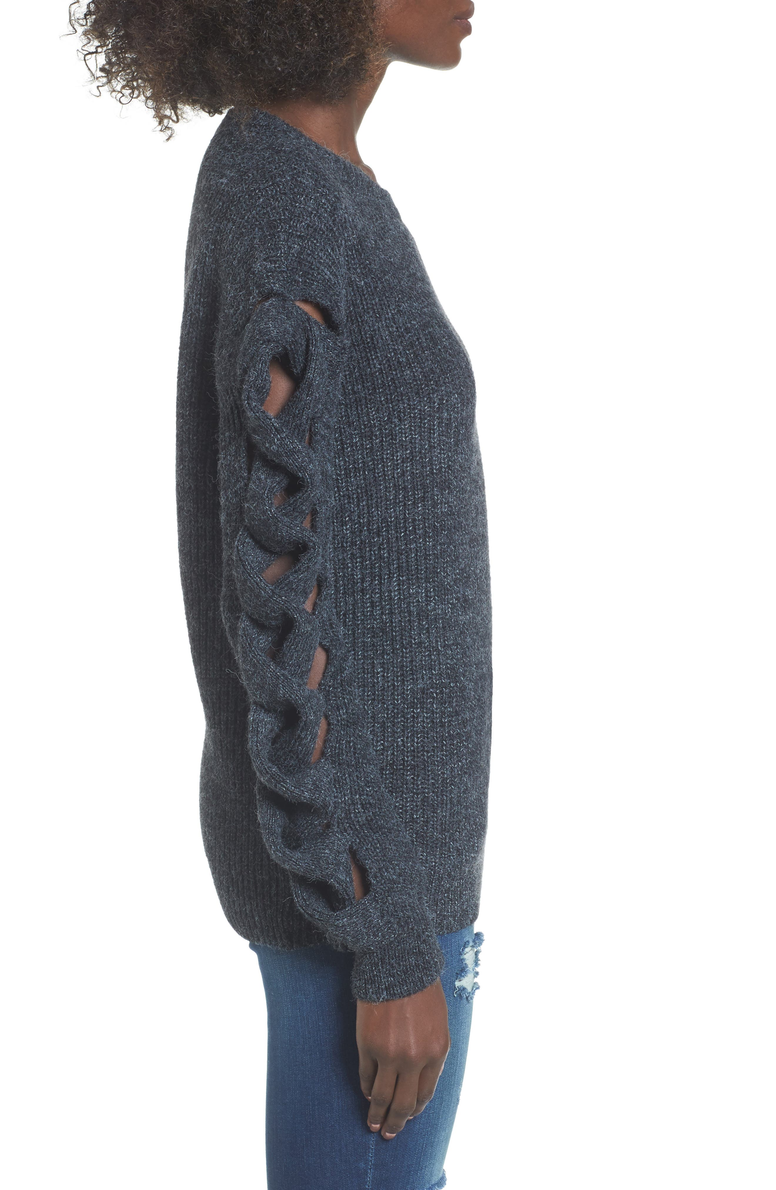 Twist Sleeve Sweater,                             Alternate thumbnail 3, color,                             030