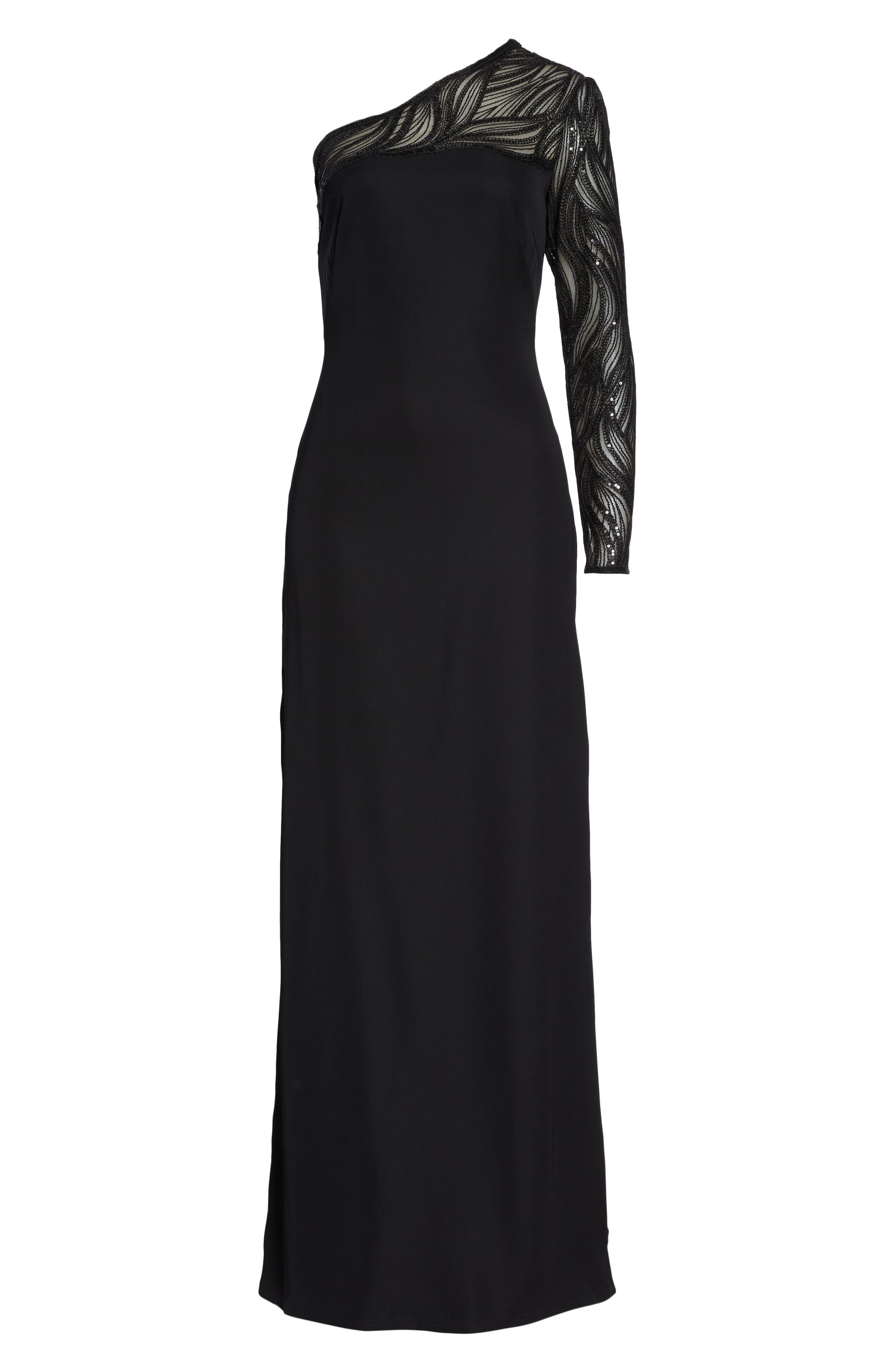 One-Shoulder Crepe Gown,                             Alternate thumbnail 7, color,                             BLACK/ NUDE