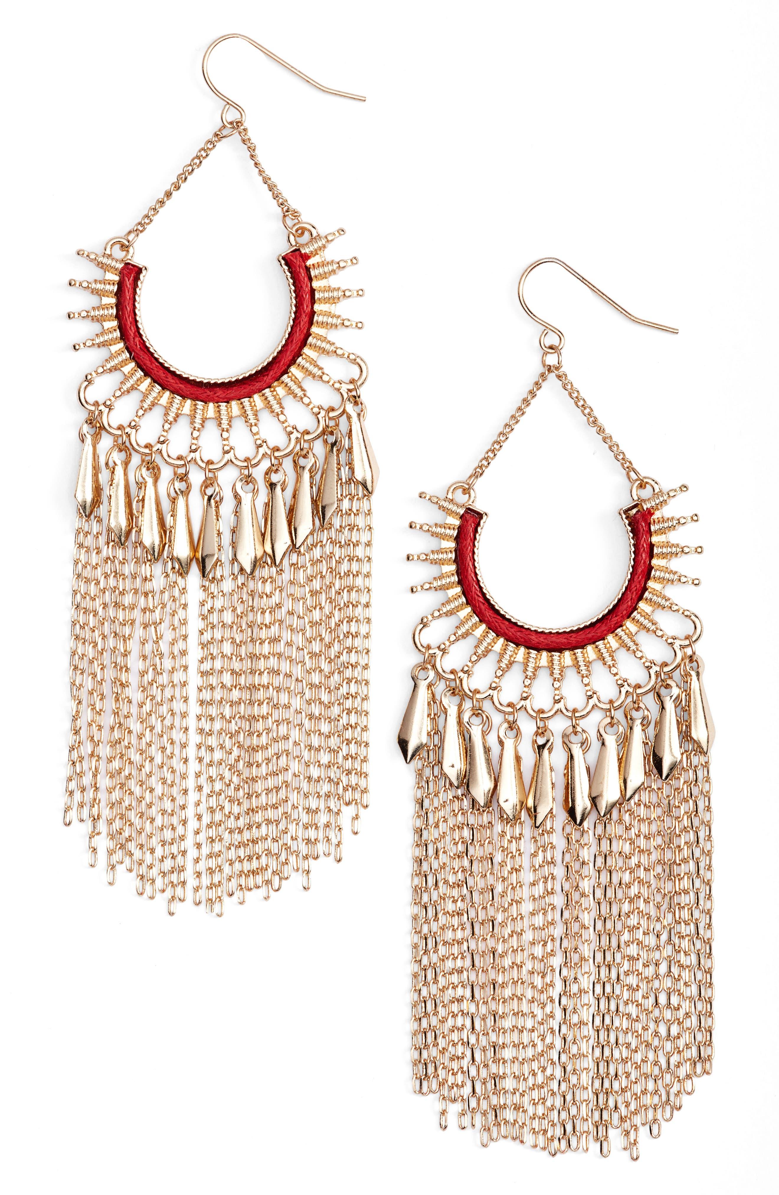 Chain Fringe Earrings,                         Main,                         color, 600