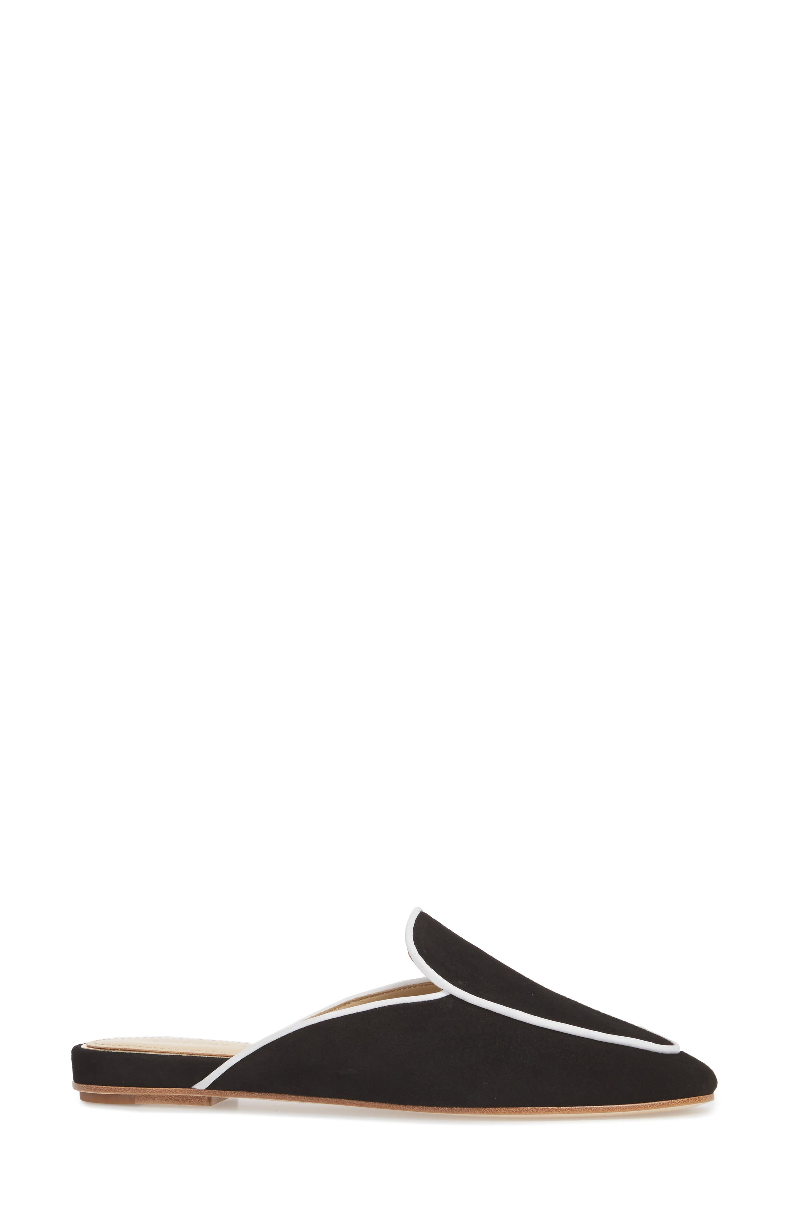 Capri Apron Toe Loafer Mule,                             Alternate thumbnail 3, color,                             BLACK/ WHITE SUEDE