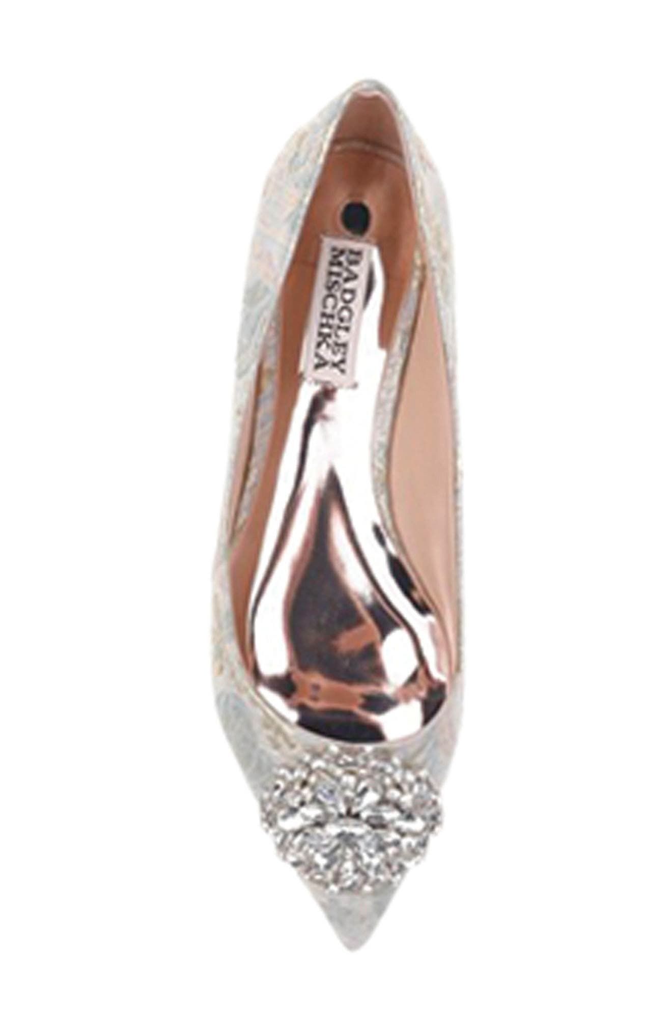 BADGLEY MISCHKA COLLECTION,                             Badgley Mischka 'Davis' Crystal Embellished Pointy Toe Flat,                             Alternate thumbnail 7, color,                             316