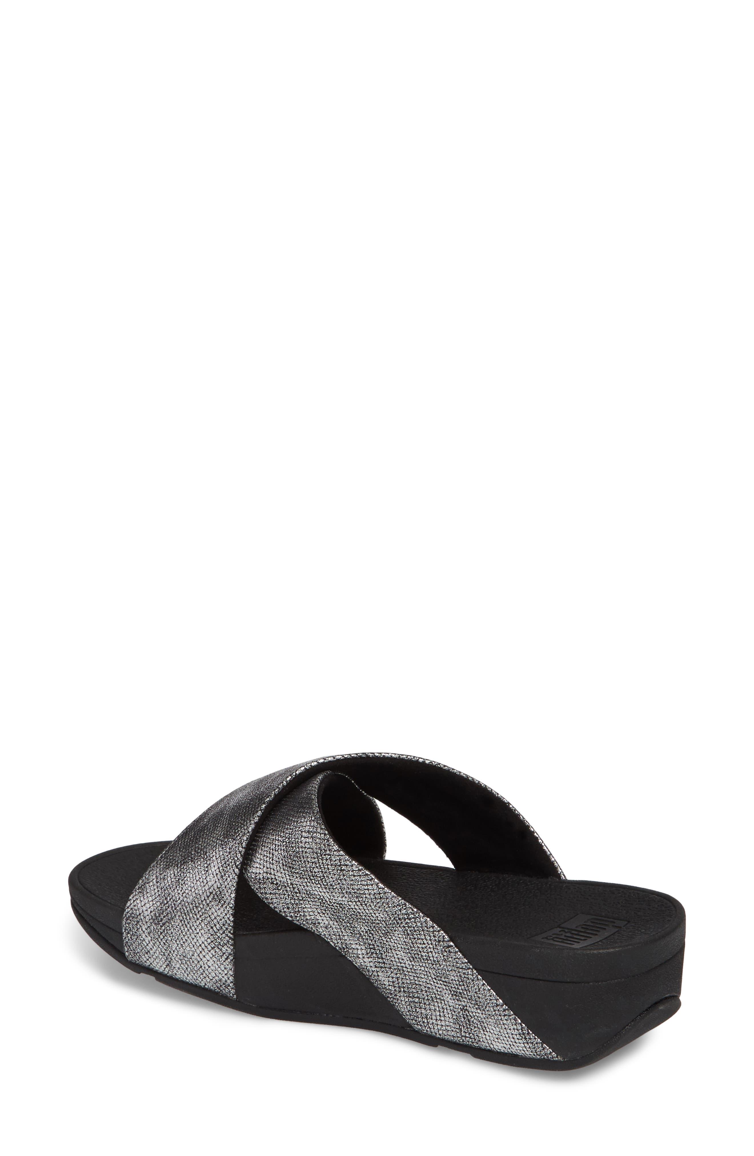 Lulu Cross Slide Sandal,                             Alternate thumbnail 2, color,                             BLACK SHIMMER PRINT