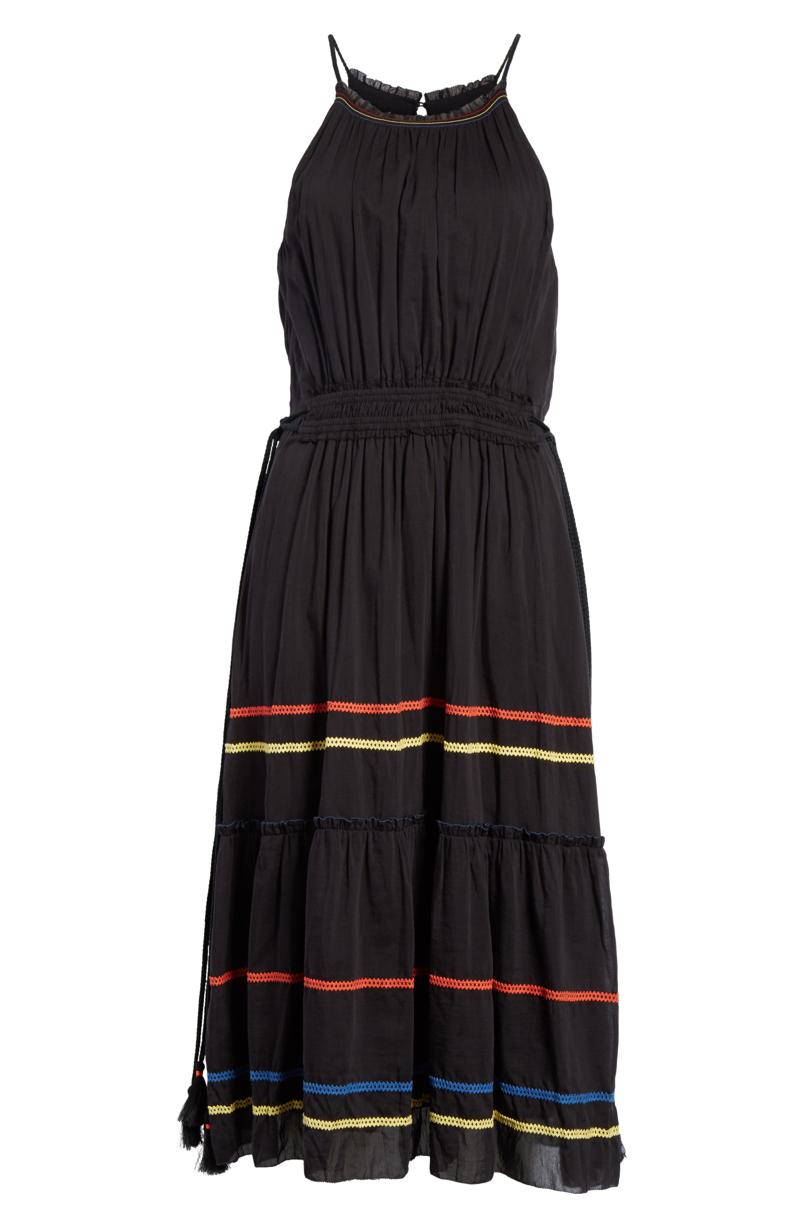 Danit Embroidered Stripe Cotton & Silk Dress,                             Alternate thumbnail 6, color,                             001