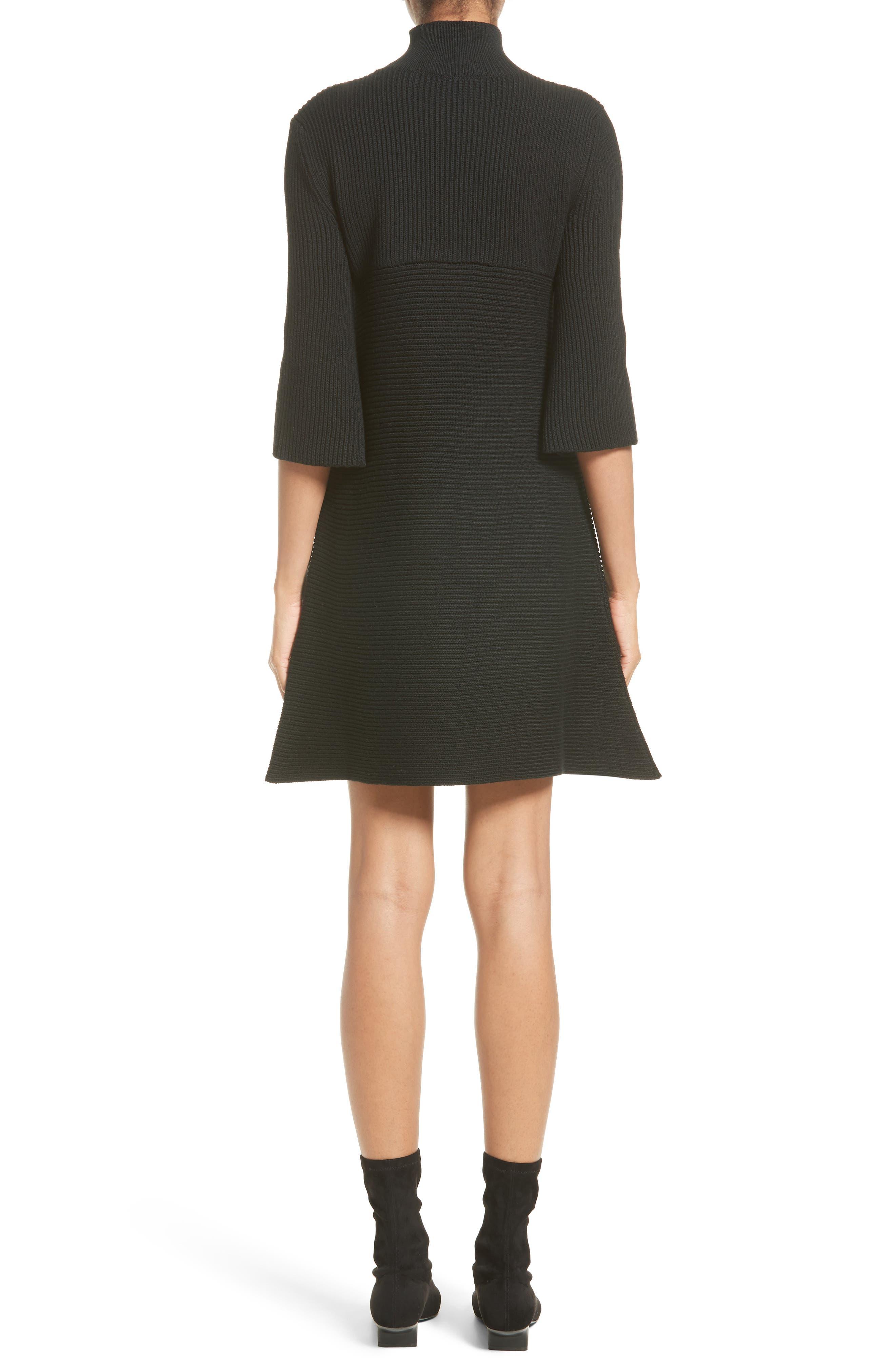 Virgin Wool Rib Knit Dress,                             Alternate thumbnail 2, color,                             001