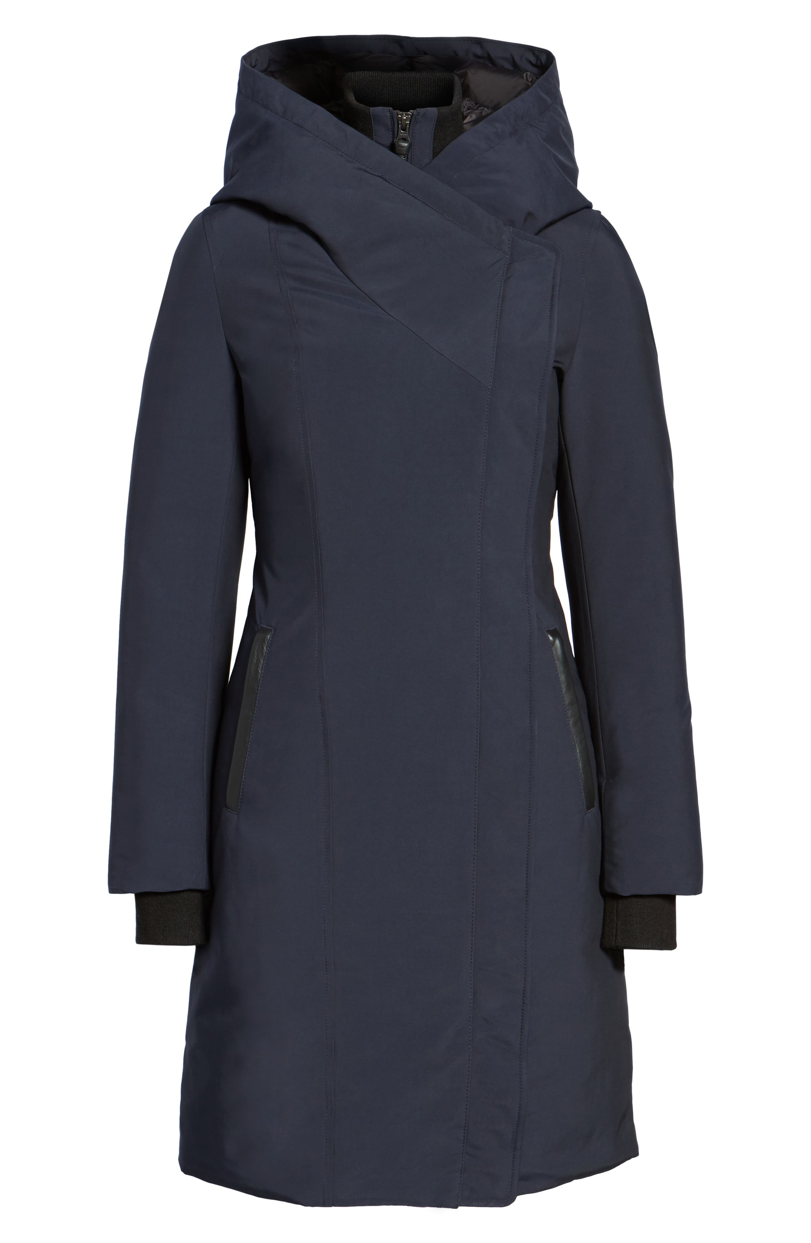 Hooded Asymmetrical Down Coat with Inset Bib,                             Alternate thumbnail 10, color,