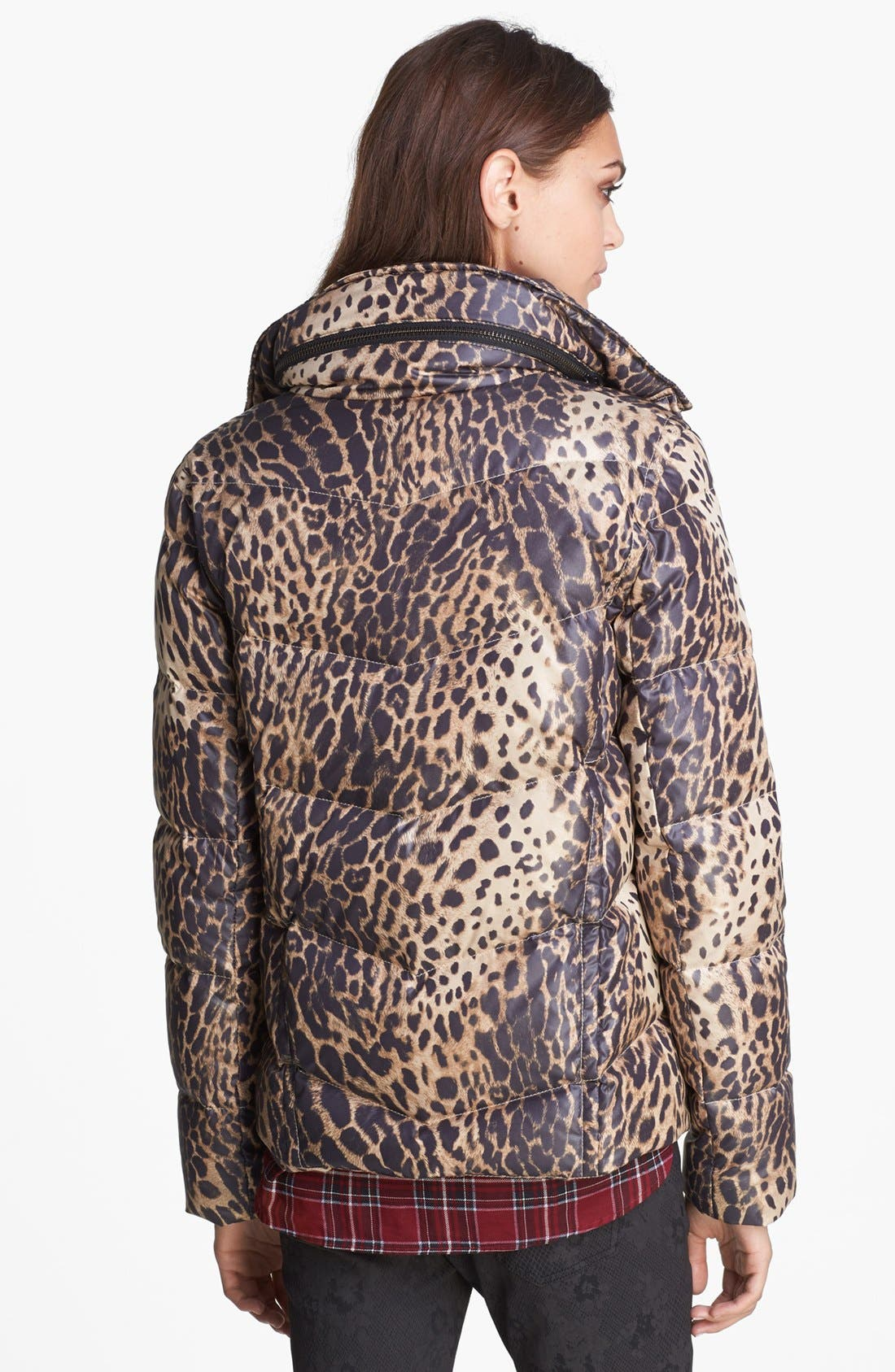 Leopard Print Puffer Jacket,                             Alternate thumbnail 2, color,                             250