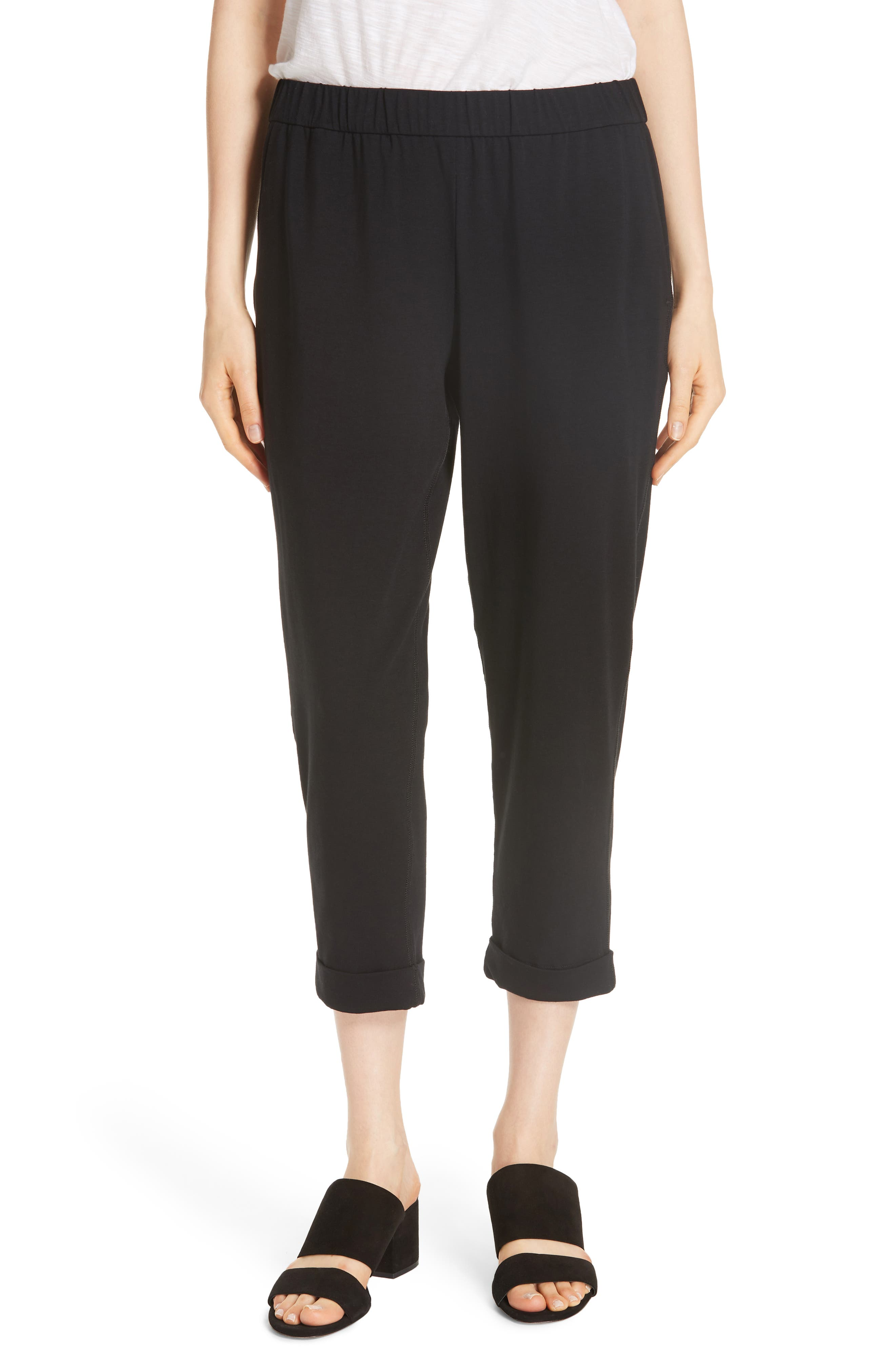 Slim Cropped Pants,                         Main,                         color, BLACK