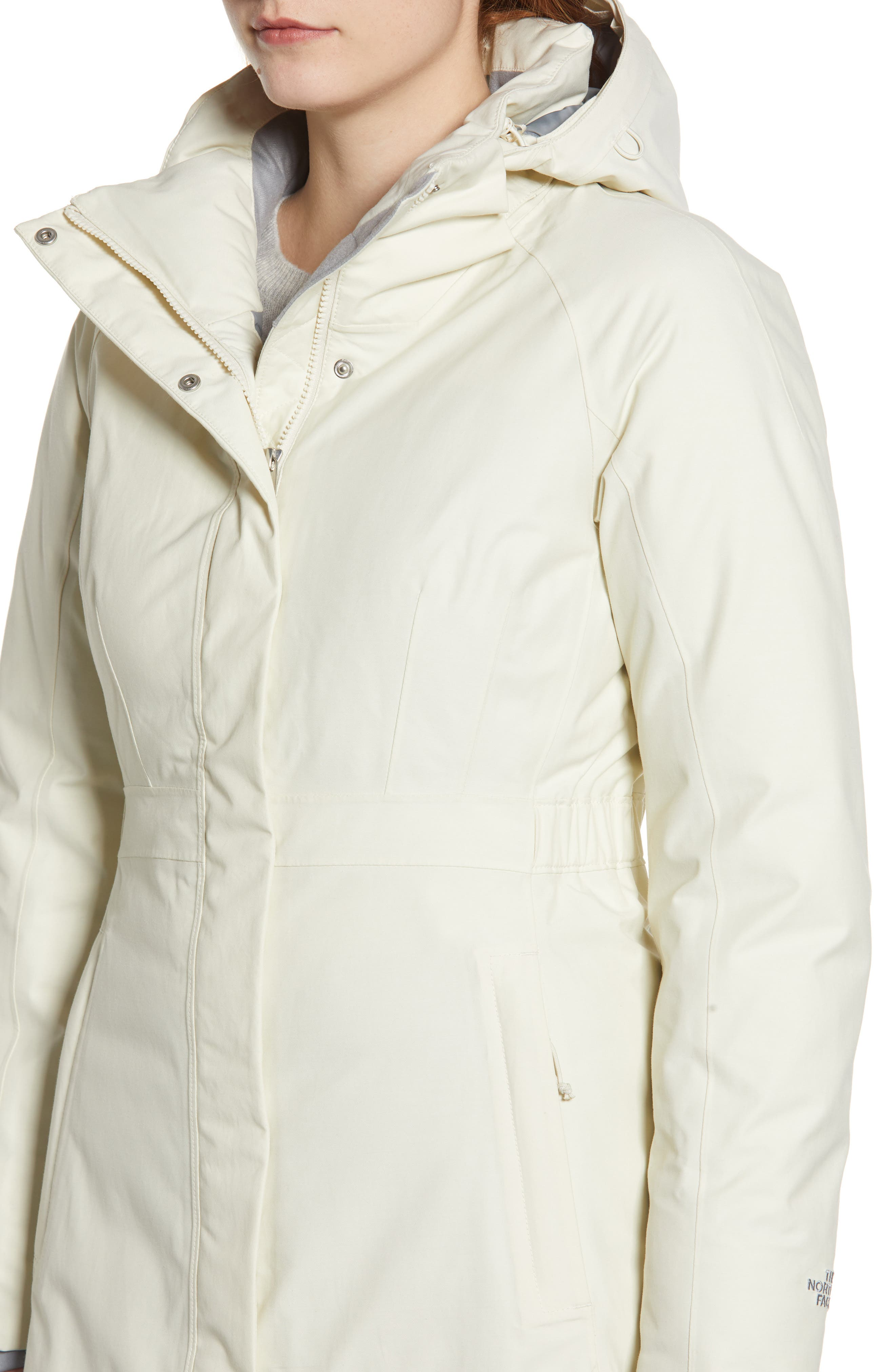 Arctic II Waterproof 550 Fill Power Down Parka with Faux Fur Trim,                             Alternate thumbnail 4, color,                             VINTAGE WHITE