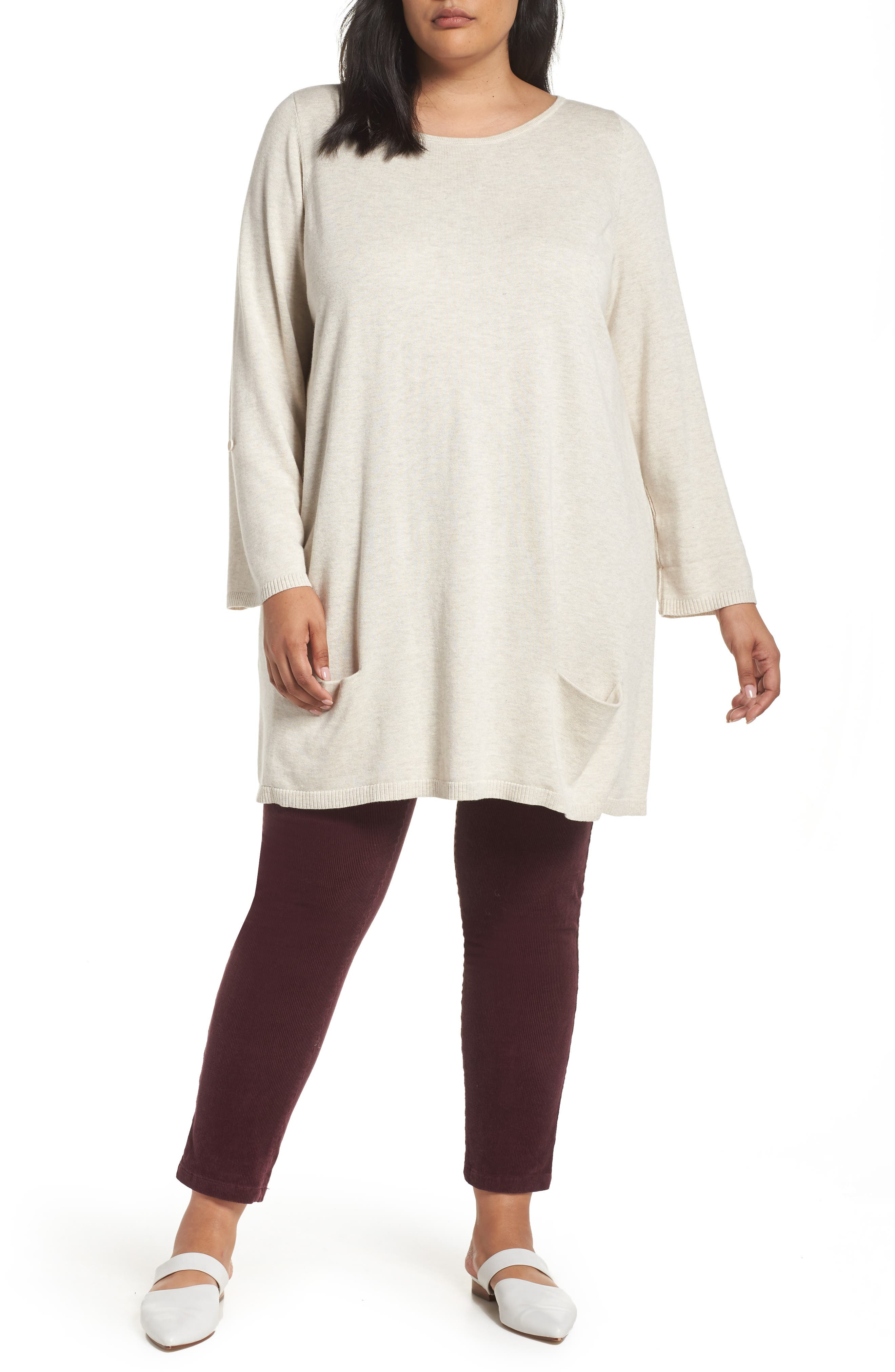 CASLON<SUP>®</SUP> Roll Sleeve Tunic Sweater, Main, color, BEIGE OATMEAL LIGHT HEATHER
