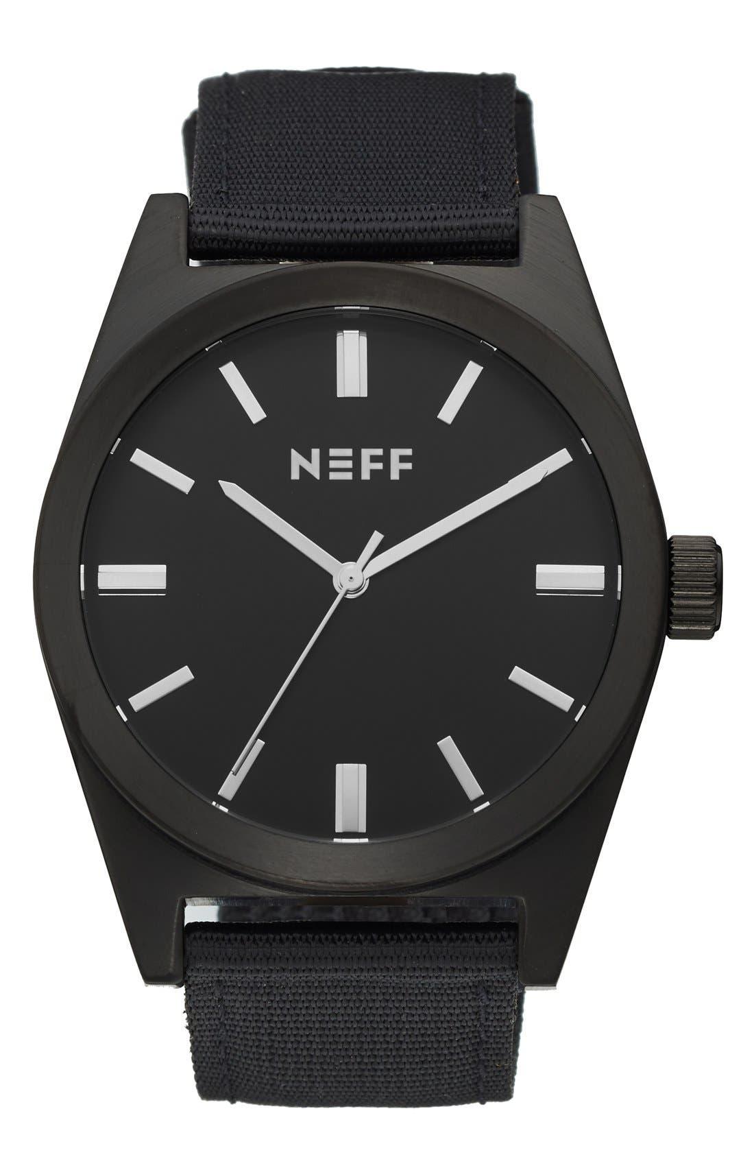 NEFF 'Nightly' Round Watch, 42mm, Main, color, 001