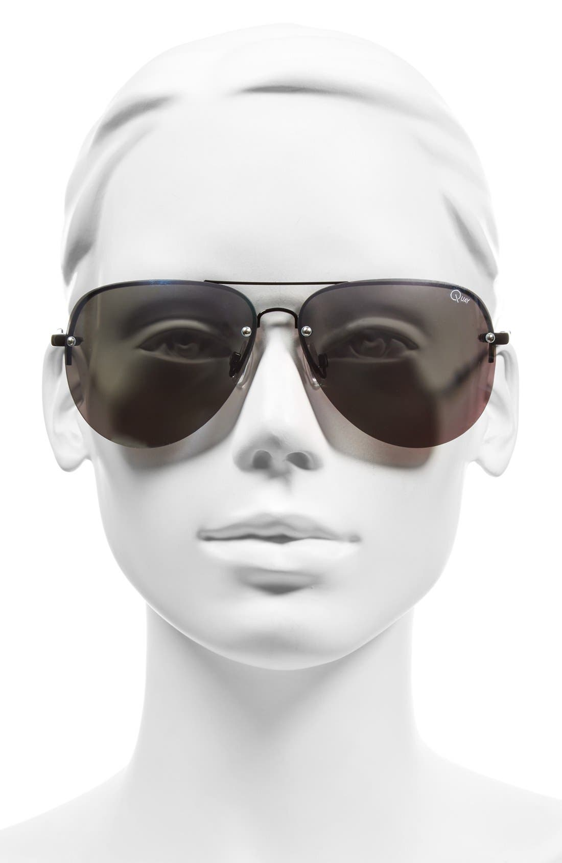 'Muse' 65mm Mirrored Aviator Sunglasses,                             Alternate thumbnail 4, color,                             001
