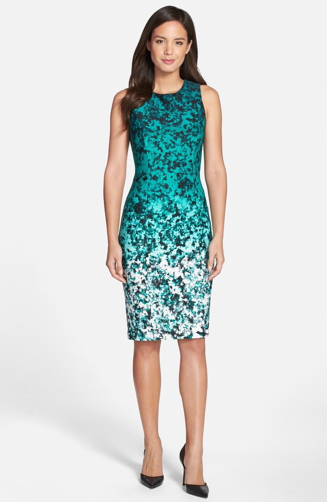 Ombré Floral Print Sleeveless Sheath Dress,                             Alternate thumbnail 6, color,                             310