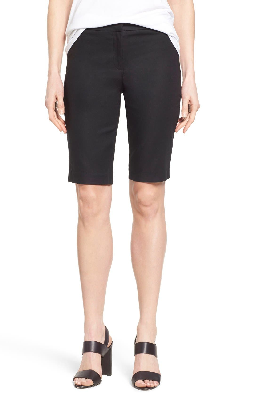 NIC+ZOE 'The Perfect' Stretch Woven Trouser Shorts, Main, color, BLACK ONYX