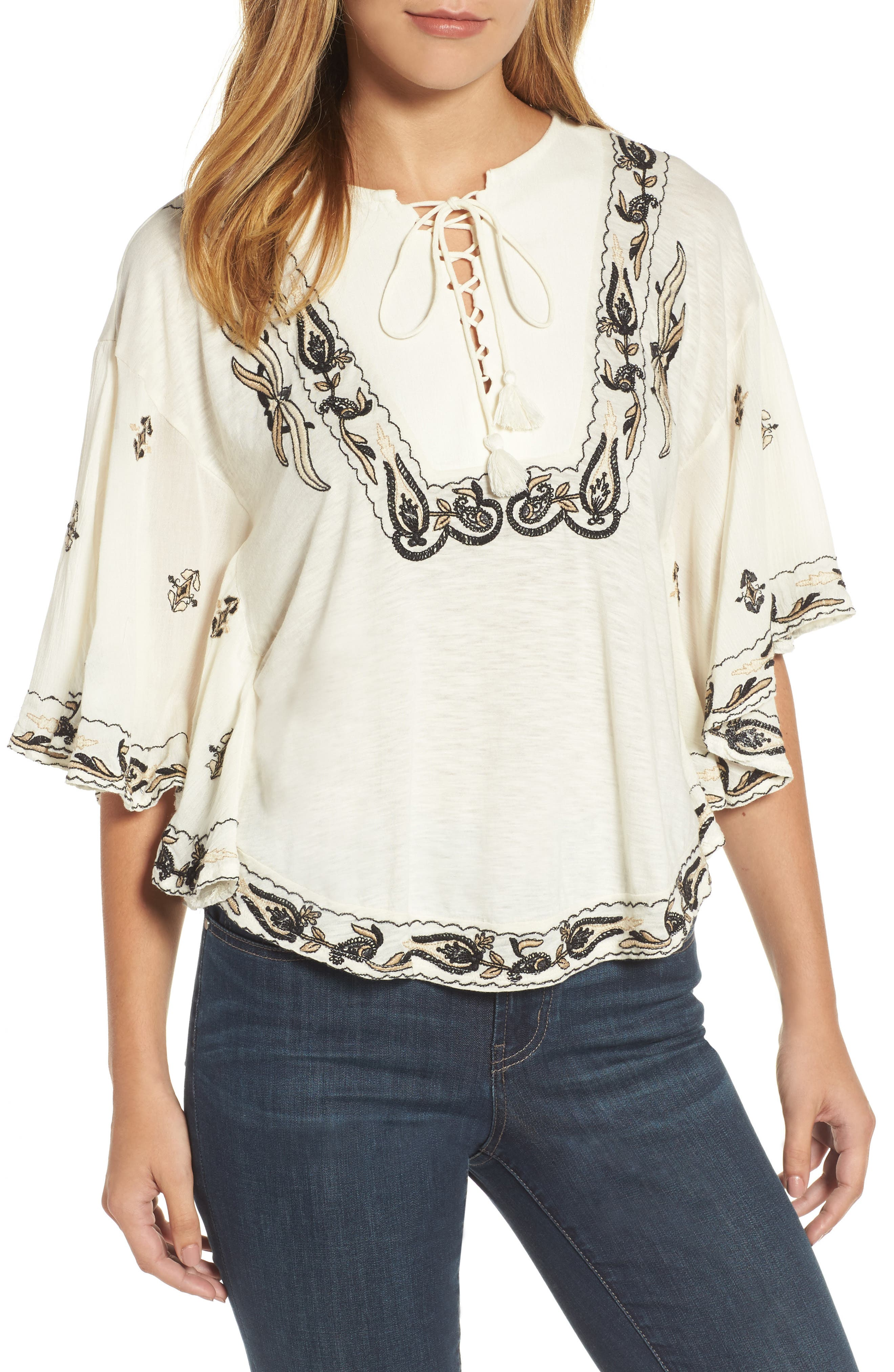 Embroidered Lace Up Peasant Top,                             Main thumbnail 2, color,