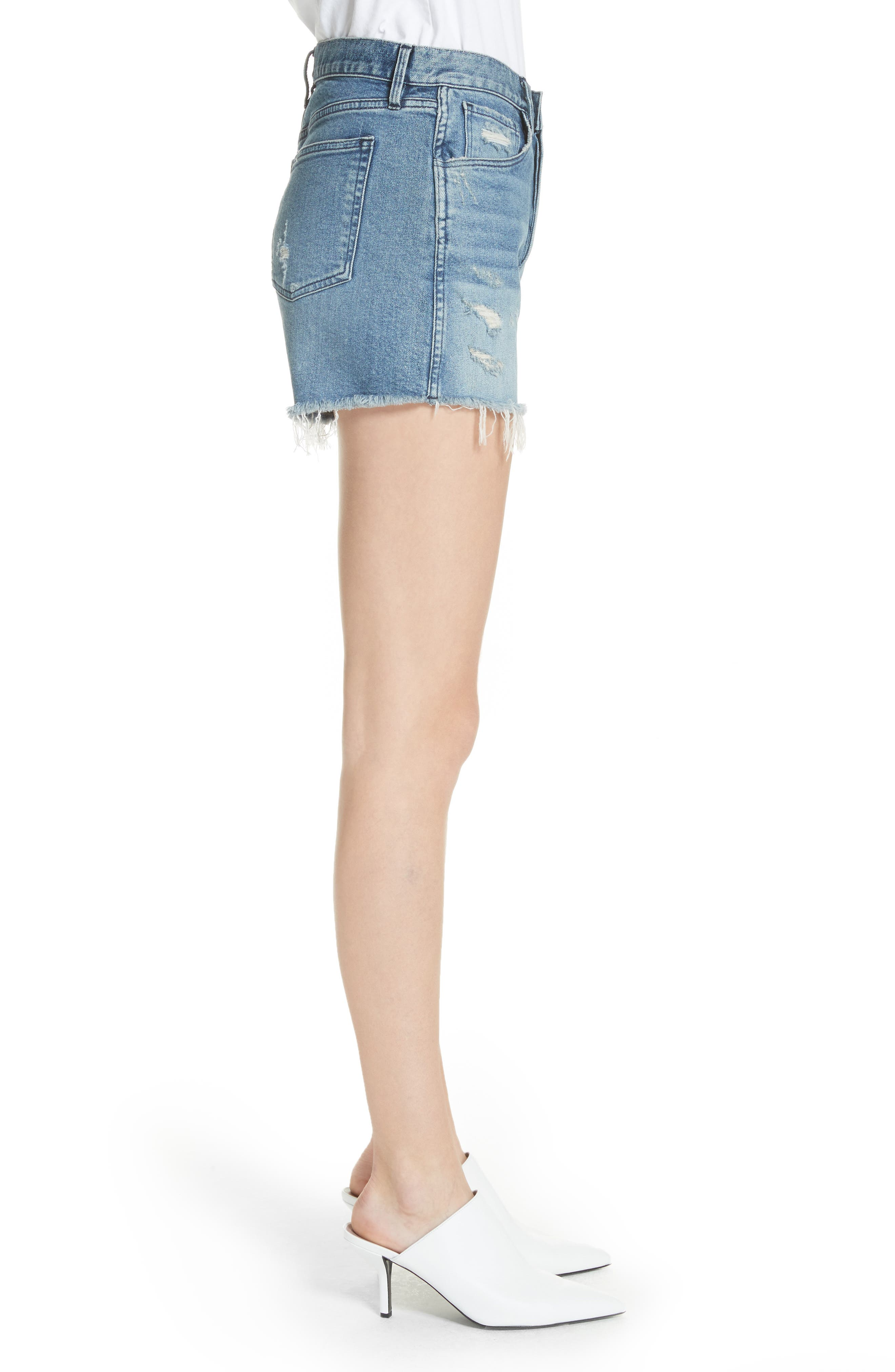 W4 Blake Raw Hem Denim Shorts,                             Alternate thumbnail 3, color,                             CHANCE