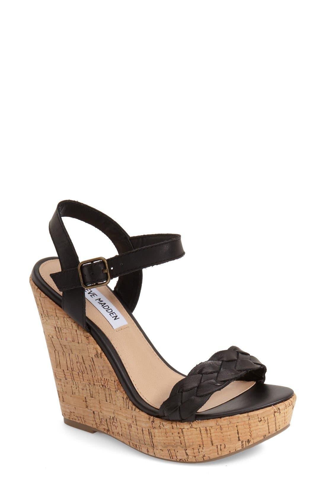 'Emmey' Platform Wedge Sandal,                             Main thumbnail 1, color,                             001