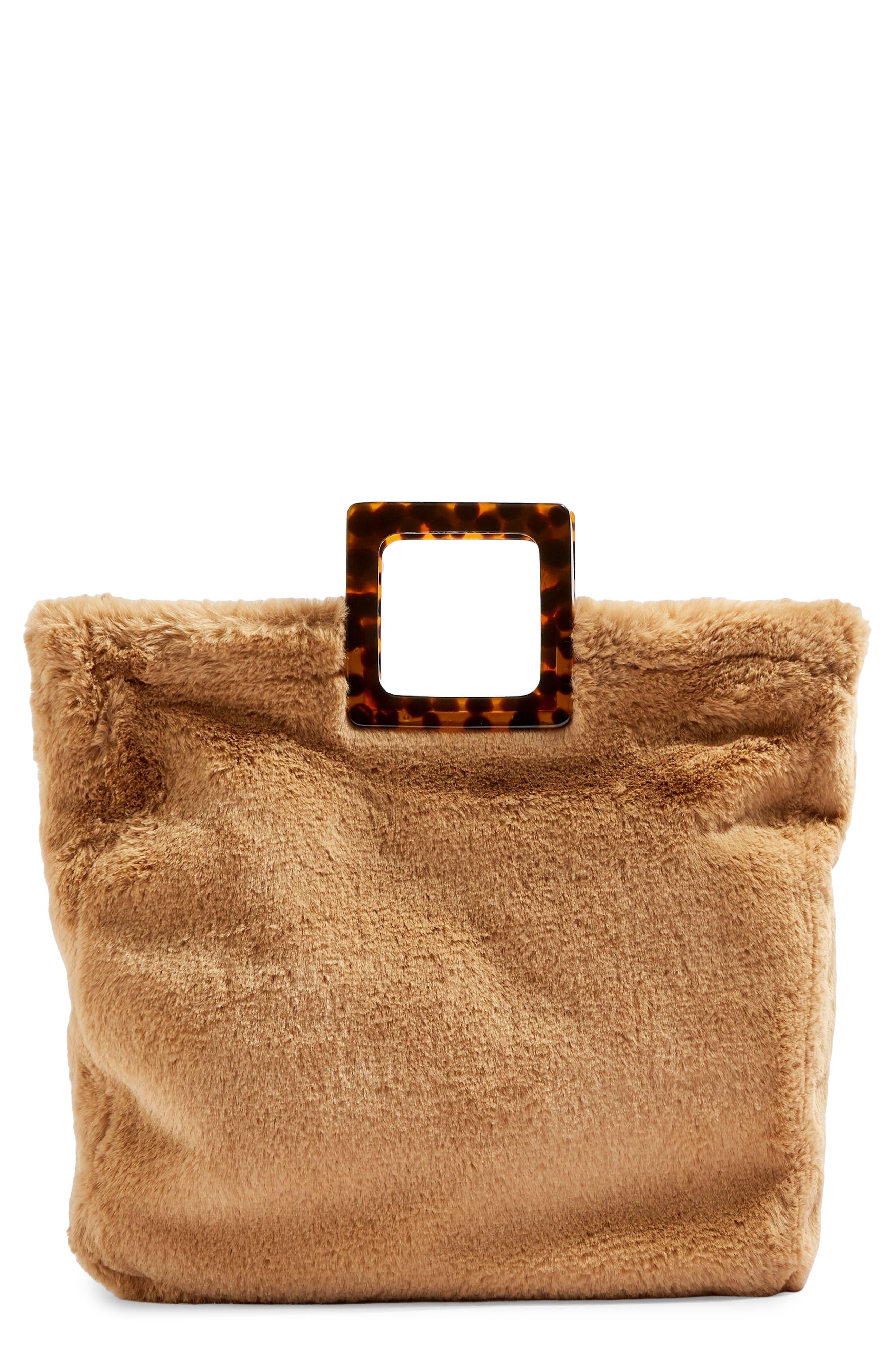 Freddy Faux Fur Tote Bag,                         Main,                         color, BROWN